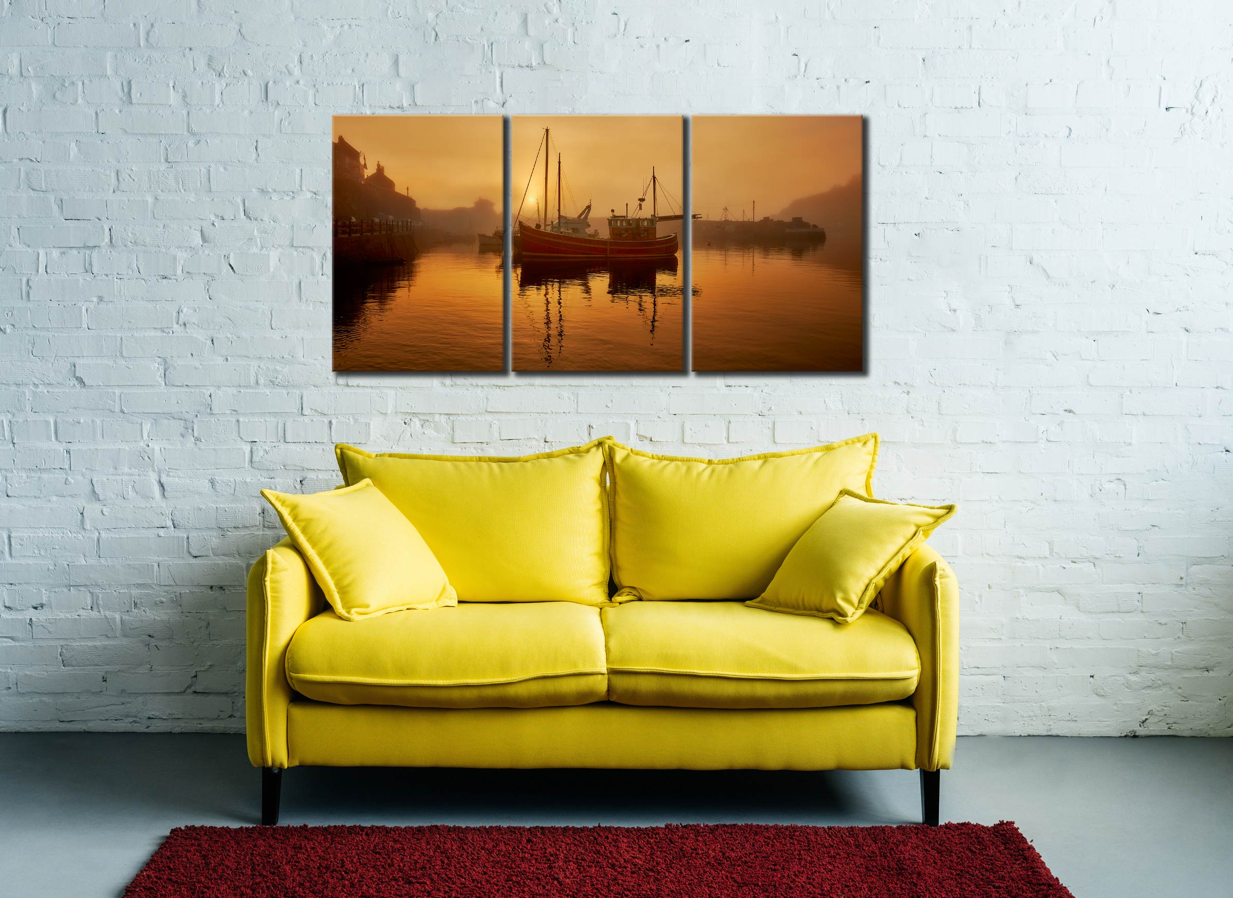 Misty Mevagissy Harbour - 3 Panel Canvas on Wall