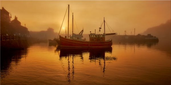 Misty Mevagissy Harbour - Canvas Print