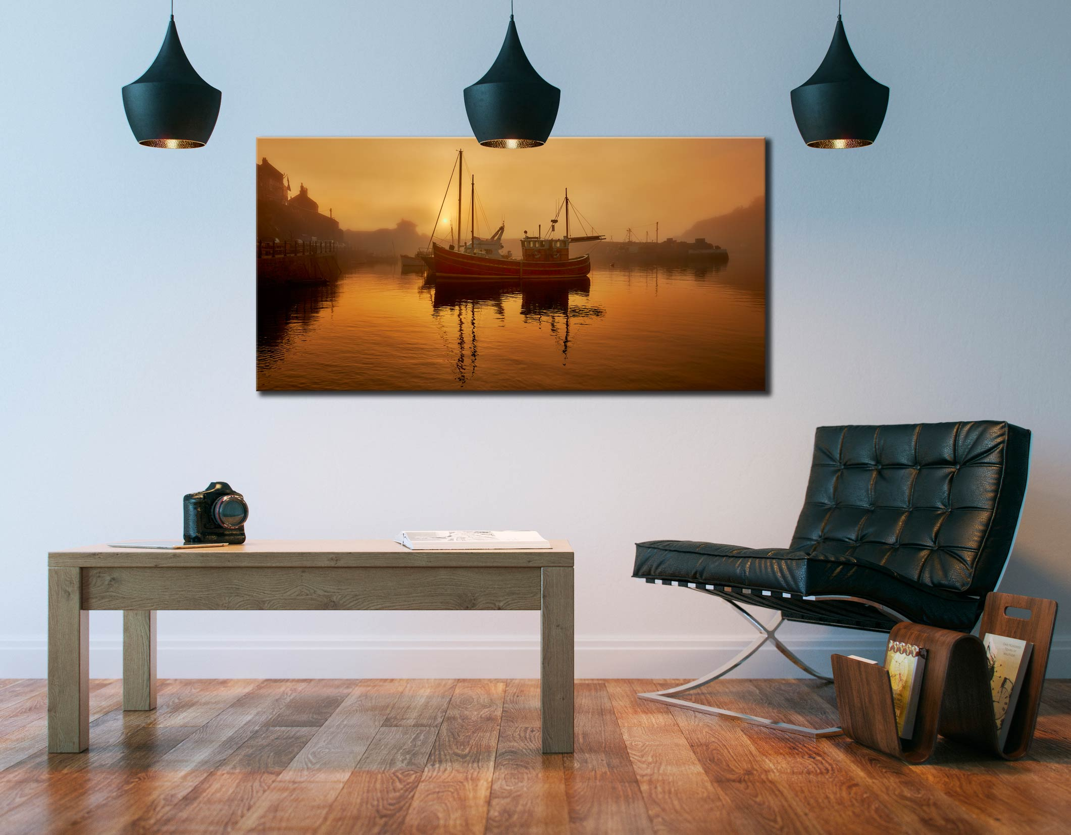 Misty Mevagissy Harbour - Canvas Print on Wall
