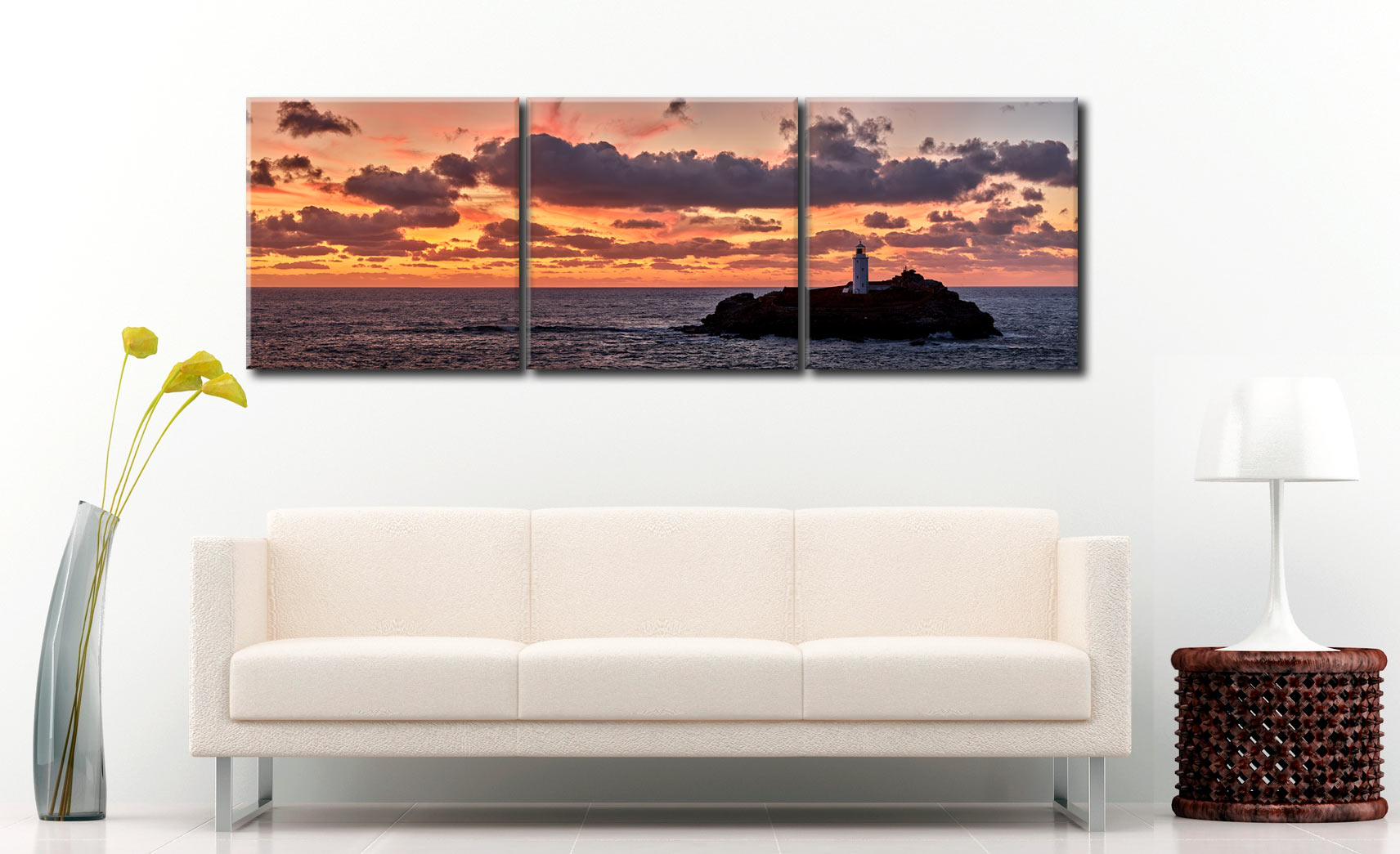 St Ives Harbour Golden Light - 3 Panel Canvas on Wall