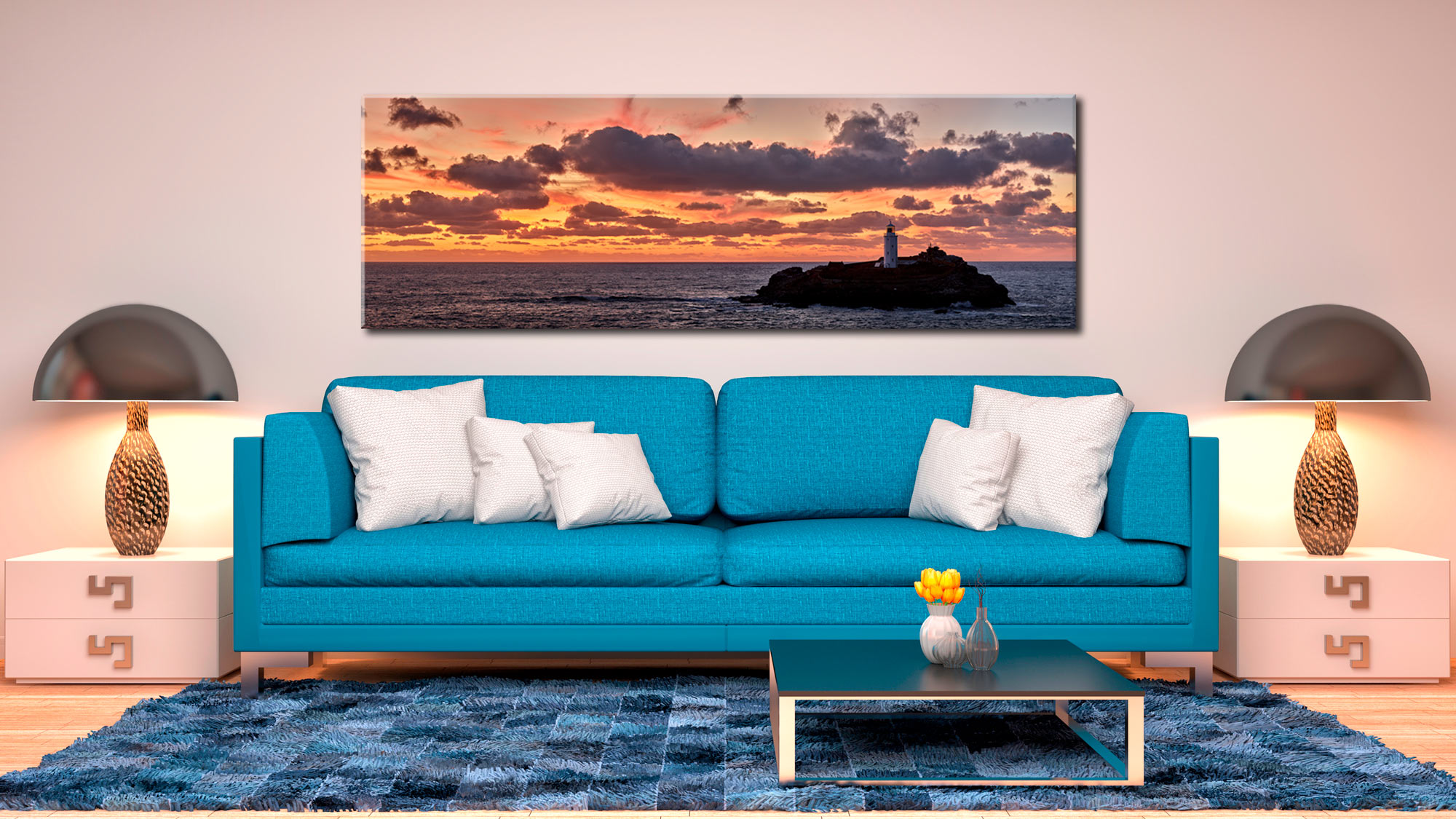 St Ives Harbour Golden Light - Canvas Print on Wall