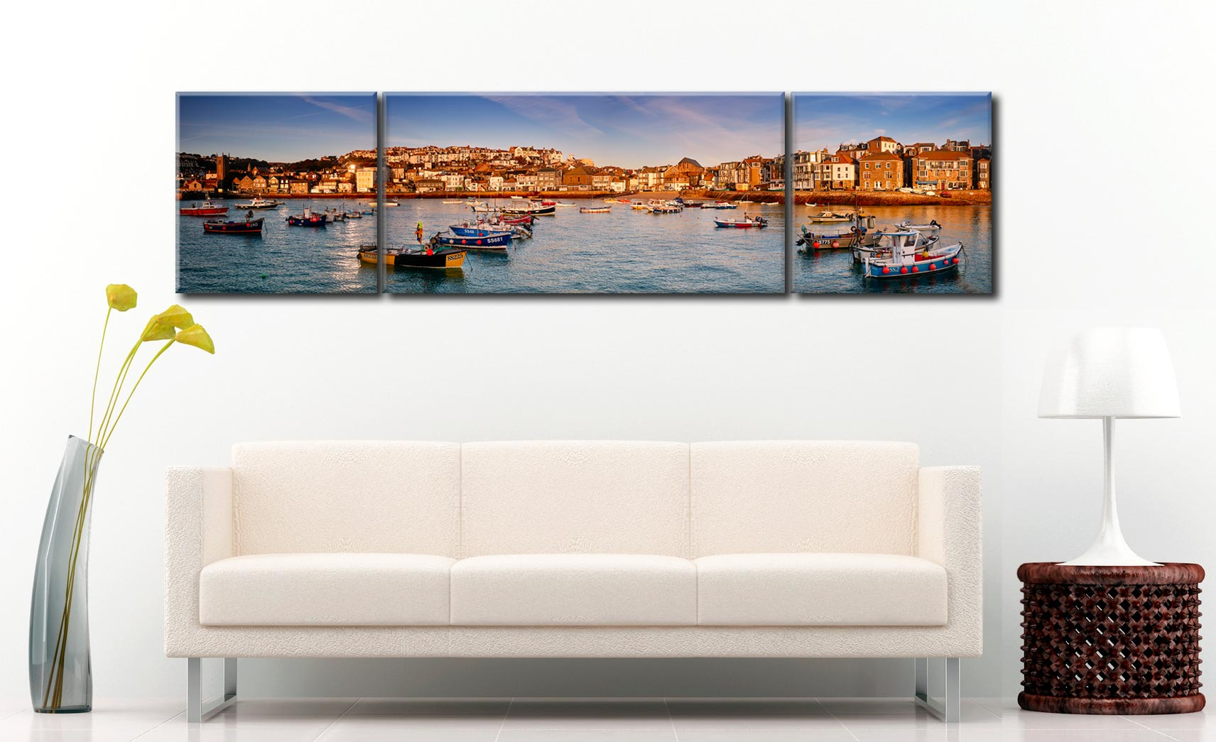 St Ives Harbour in Afternoon Sunshine - 3 Panel Wide Centre Canvas on Wall