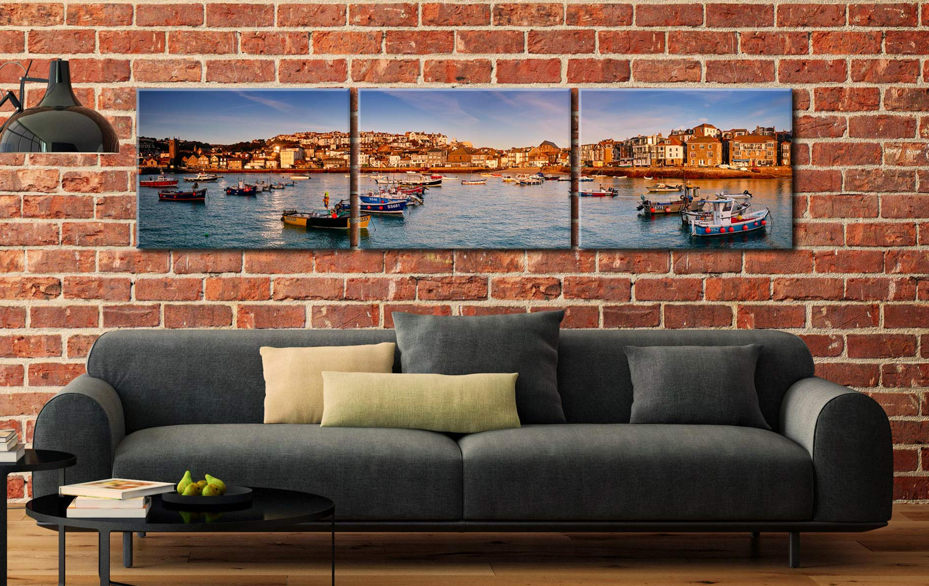 St Ives Harbour in Afternoon Sunshine - 3 Panel Canvas on Wall