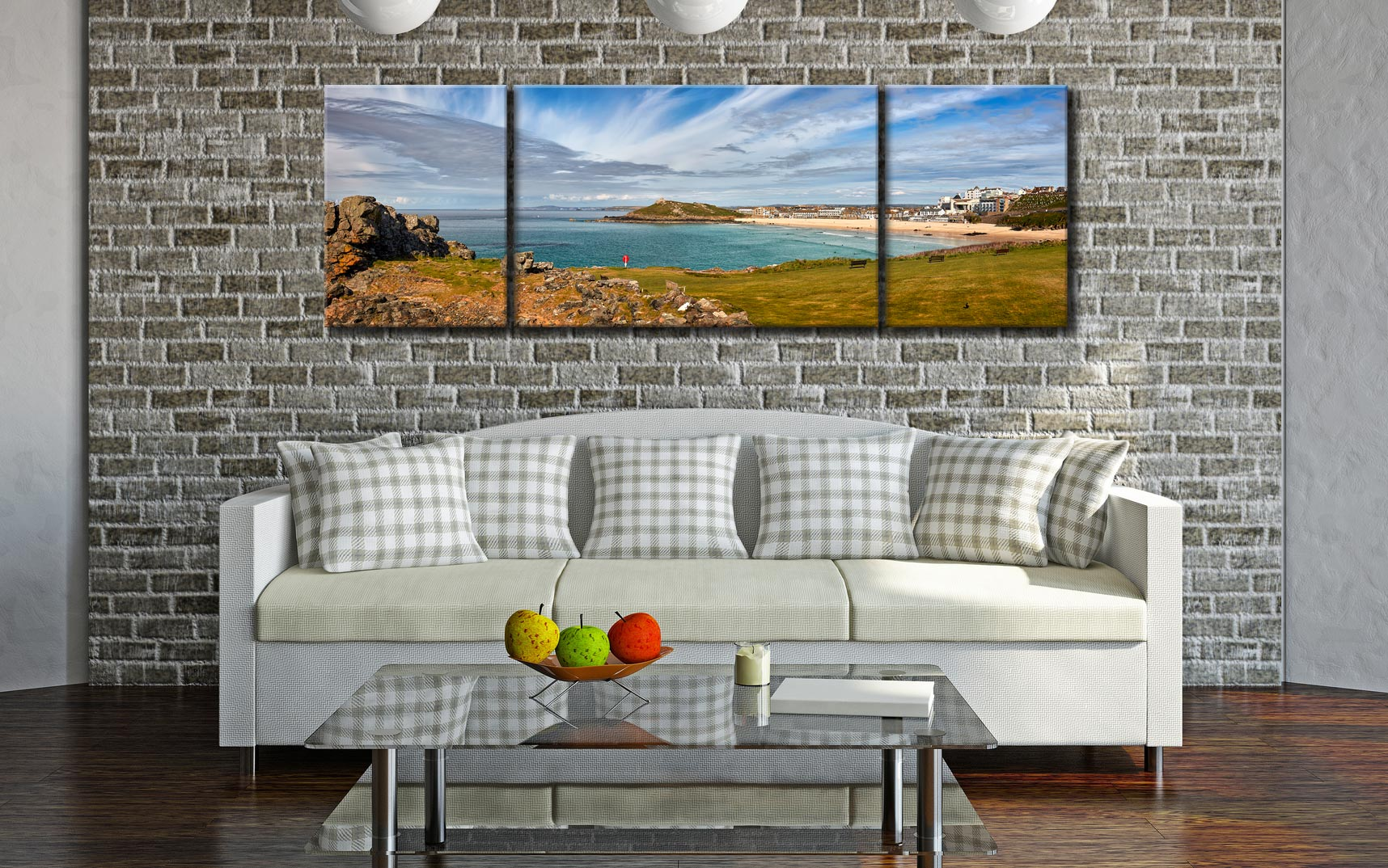 St Ives Bay Panorama - 3 Panel Wide Mid Canvas on Wall