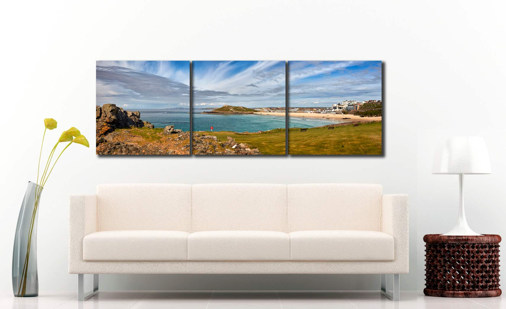 St Ives Bay Panorama - 3 Panel Canvas on Wall