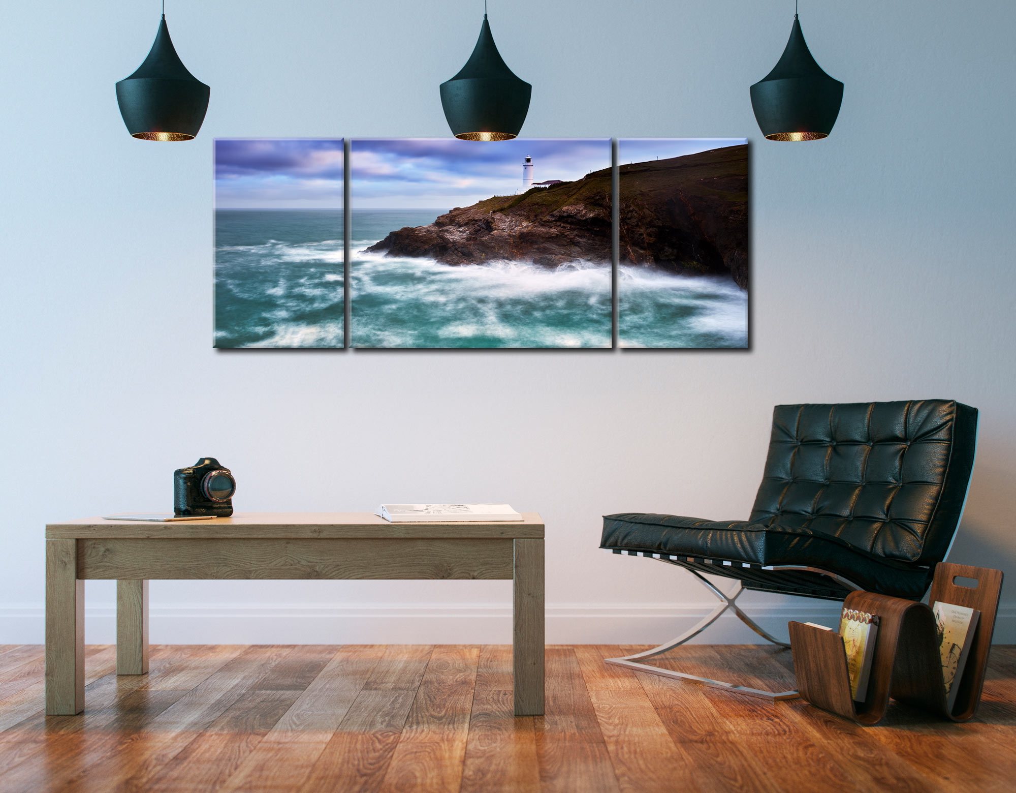 Stinking Cove and Trevose Head Lighthouse - 3 Panel Wide Mid Canvas on Wall