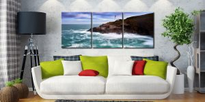 Stinking Cove and Trevose Head Lighthouse - 3 Panel Canvas on Wall