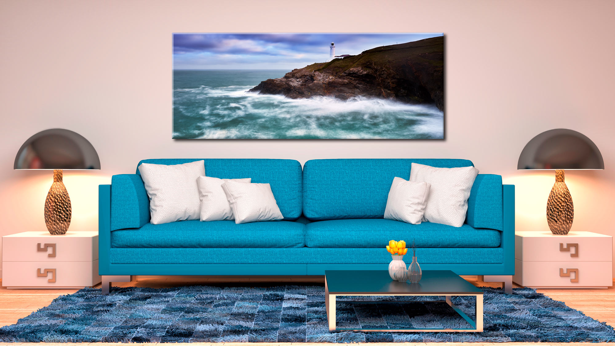 Stinking Cove and Trevose Head Lighthouse - Canvas Print on Wall