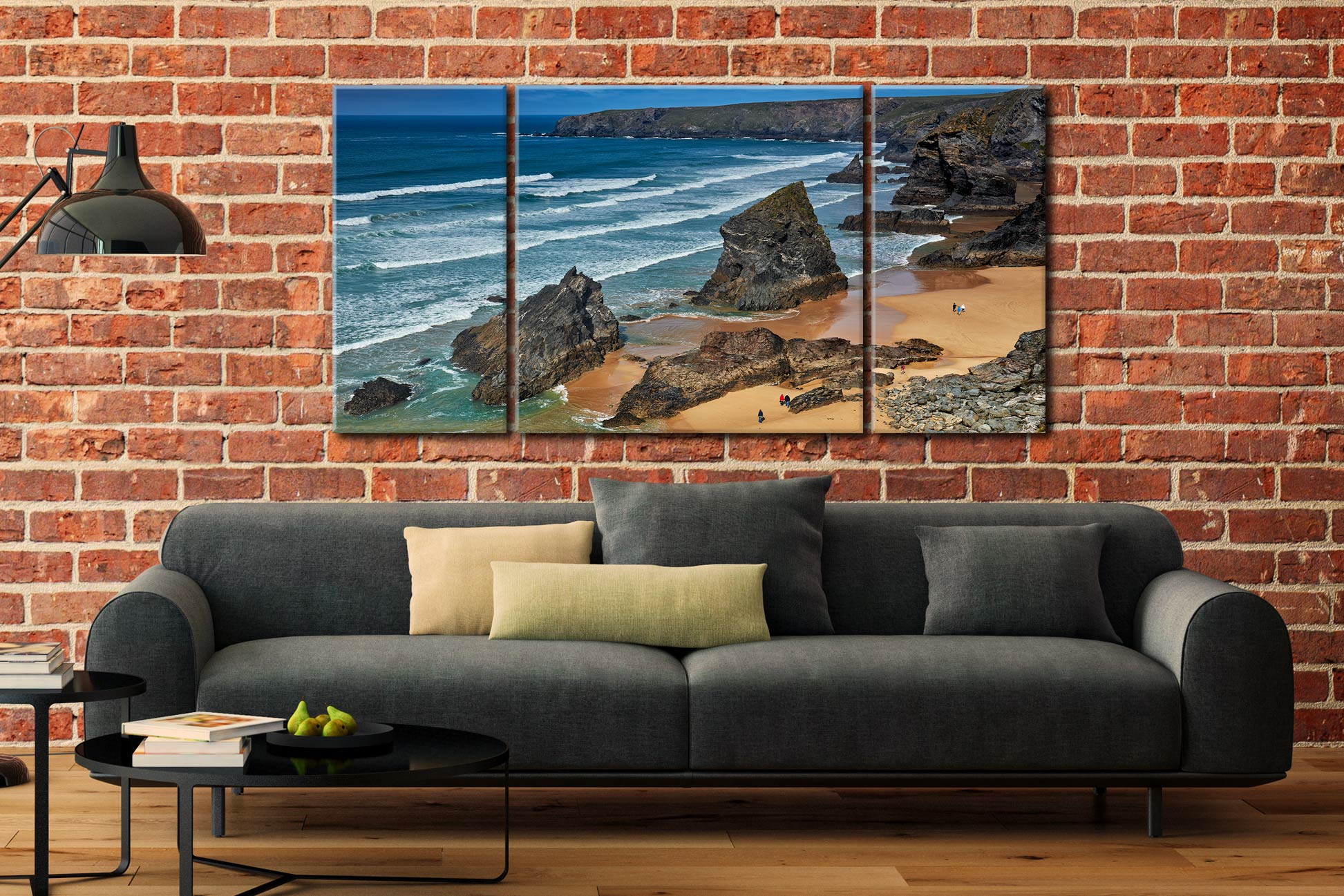 Bedruthan Steps Beach Rocks - 3 Panel Wide Centre Canvas on Wall