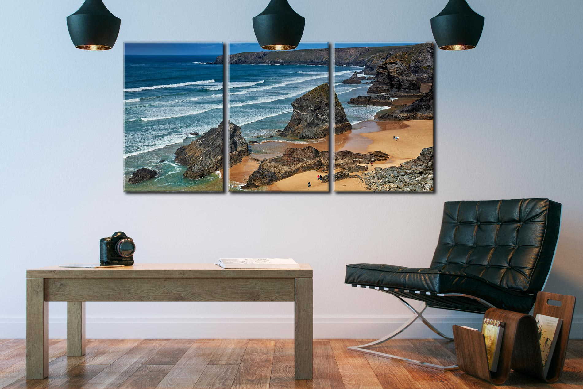 Bedruthan Steps Beach Rocks - 3 Panel Canvas on Wall