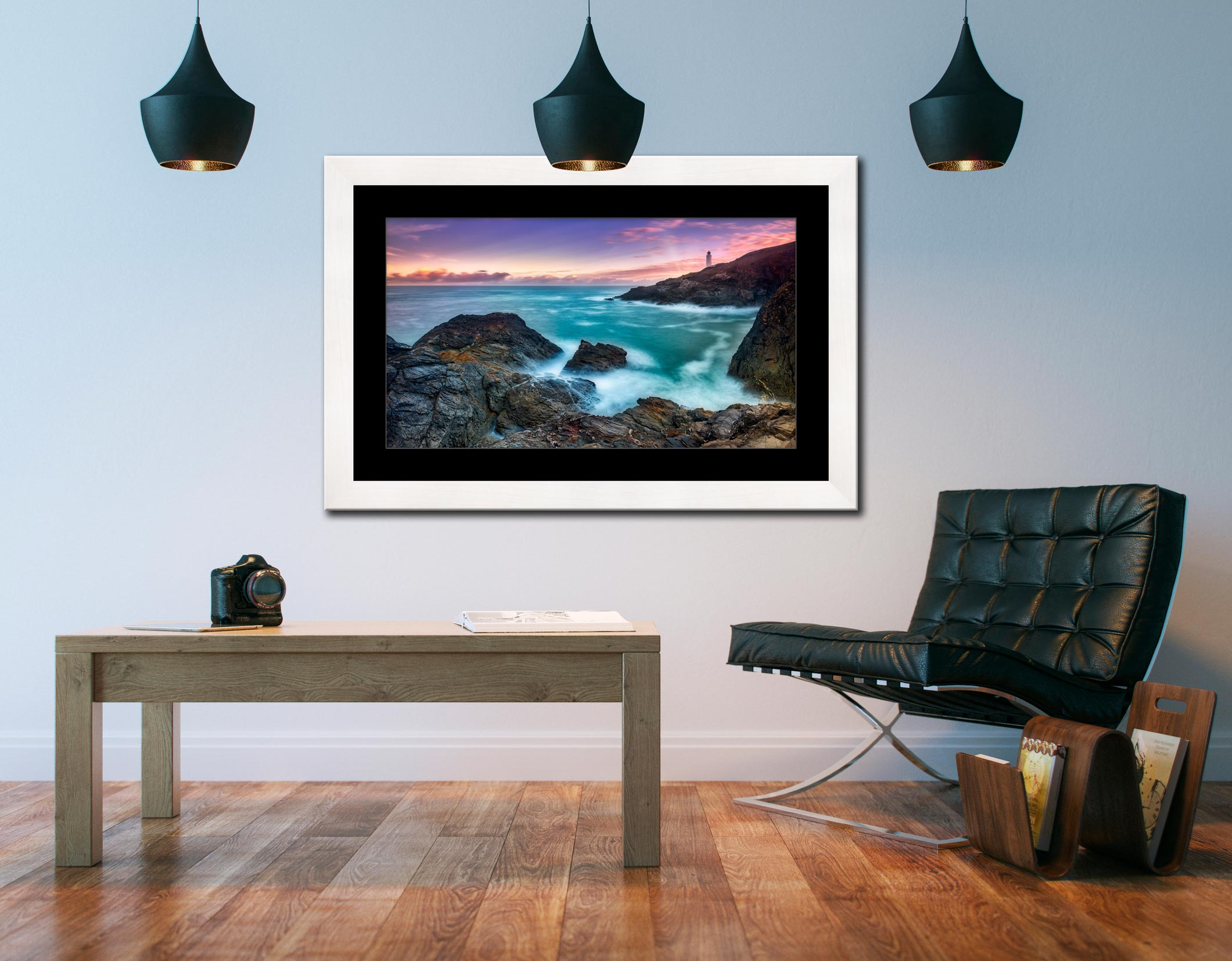 Stinking Cove Trevose Head Sunrise - Framed Print with Mount on Wall