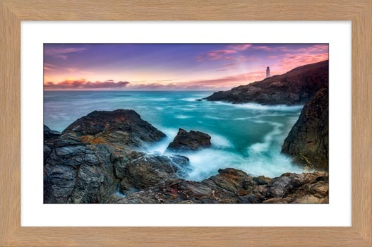Stinking Cove Trevose Head Sunrise - Framed Print with Mount