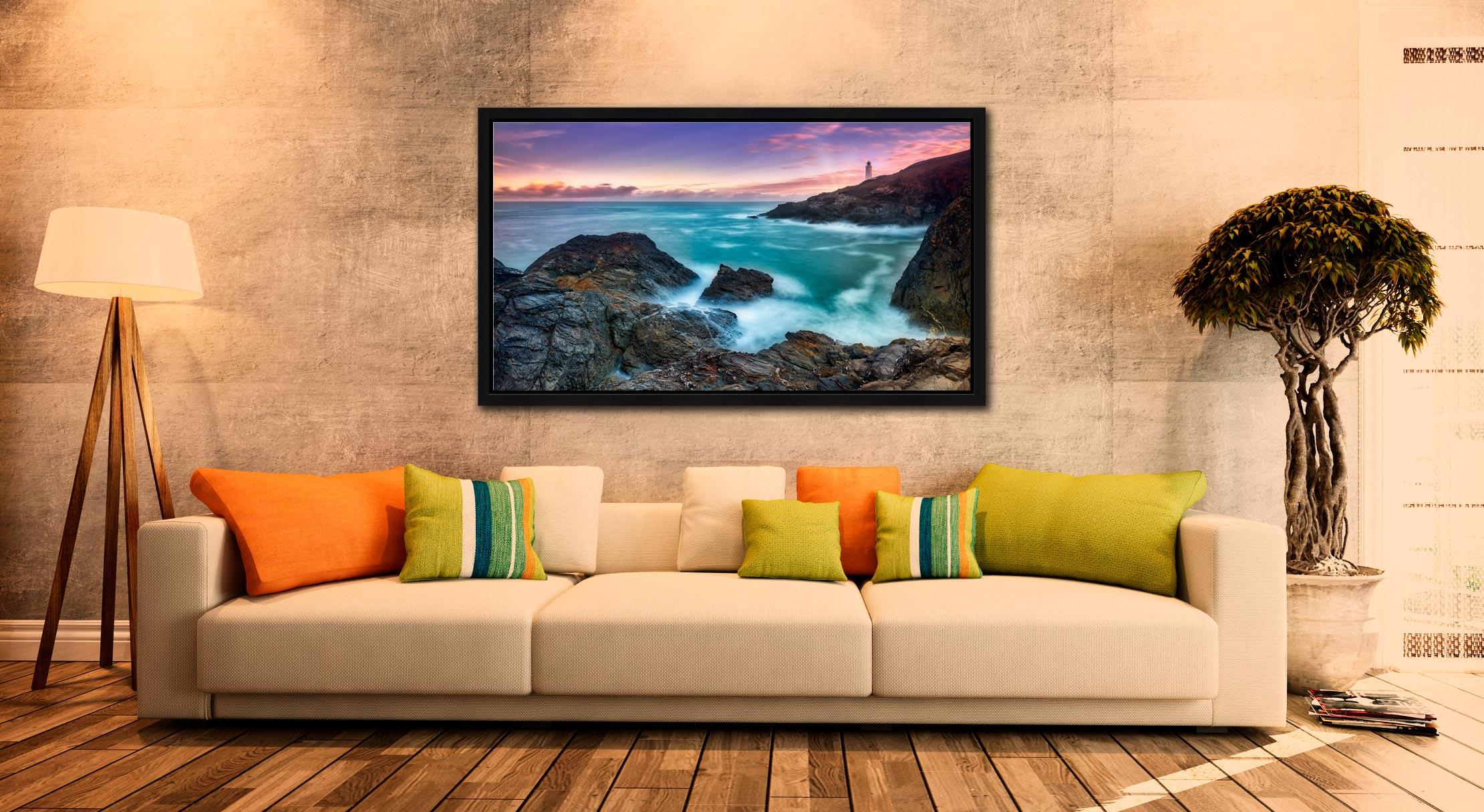 Stinking Cove Trevose Head Sunrise - Black oak floater frame with acrylic glazing on Wall