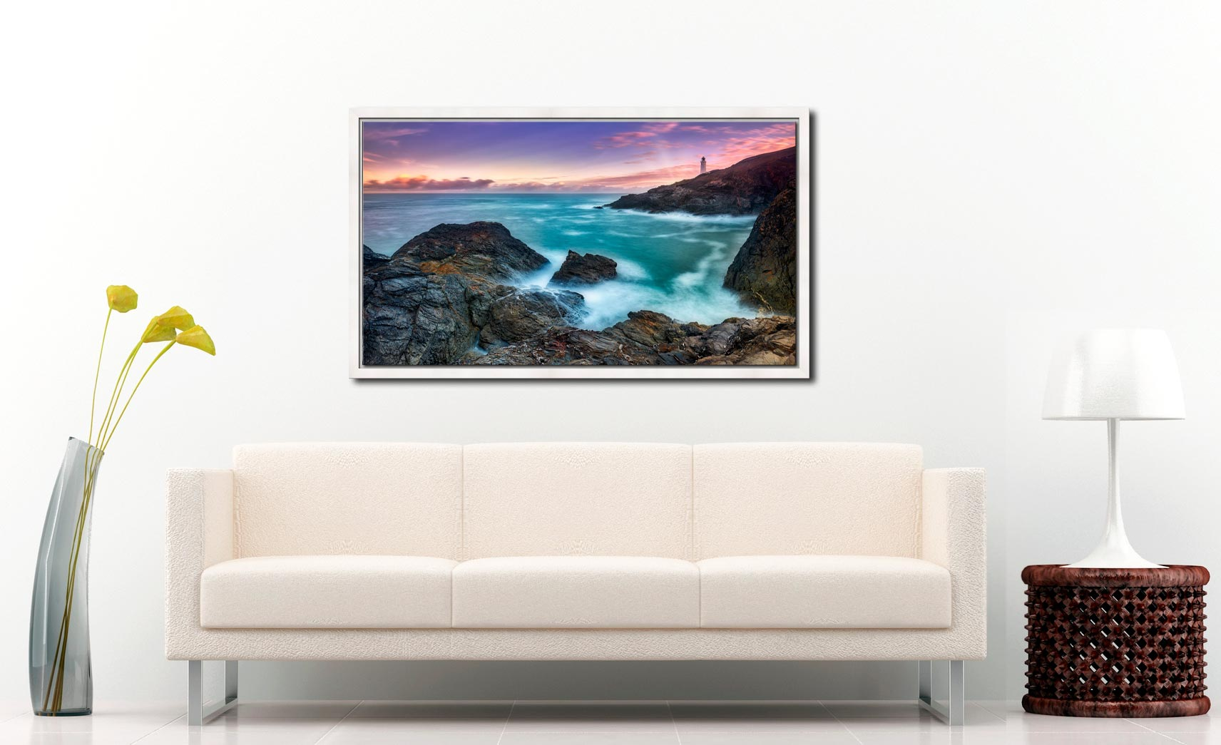 Stinking Cove Trevose Head Sunrise - White Maple floater frame with acrylic glazing on Wall