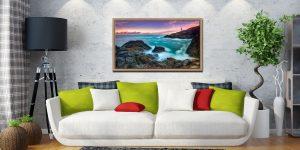 Stinking Cove Trevose Head Sunrise - Oak floater frame with acrylic glazing on Wall