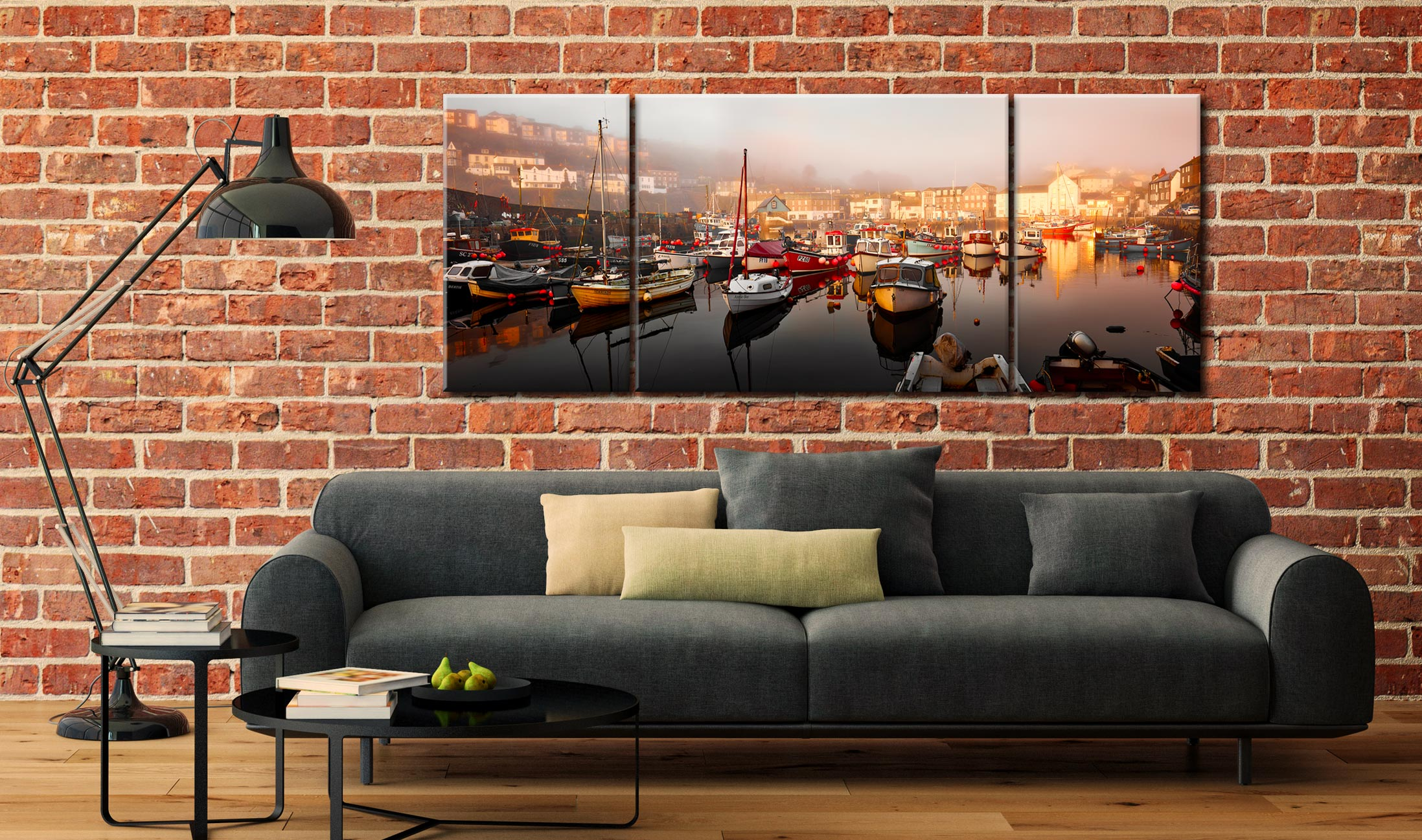 Mevagissy Golden Morning - 3 Panel Wide Mid Canvas on Wall