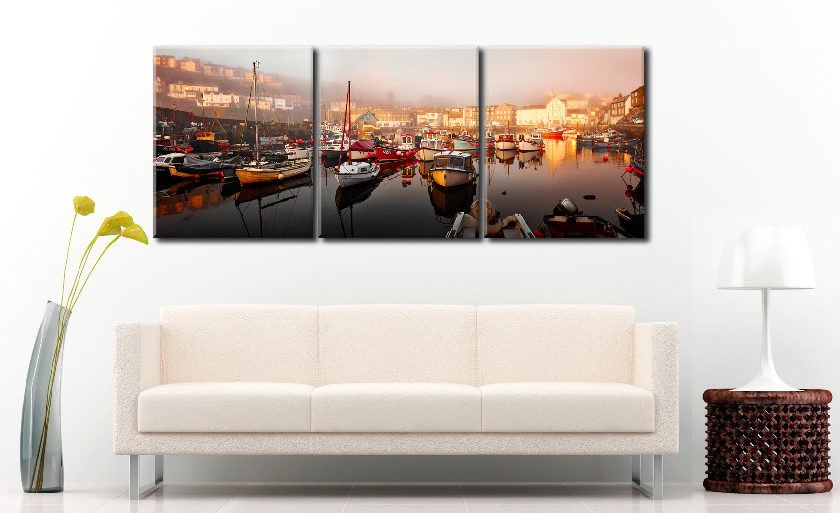 Mevagissy Golden Morning - 3 Panel Canvas on Wall