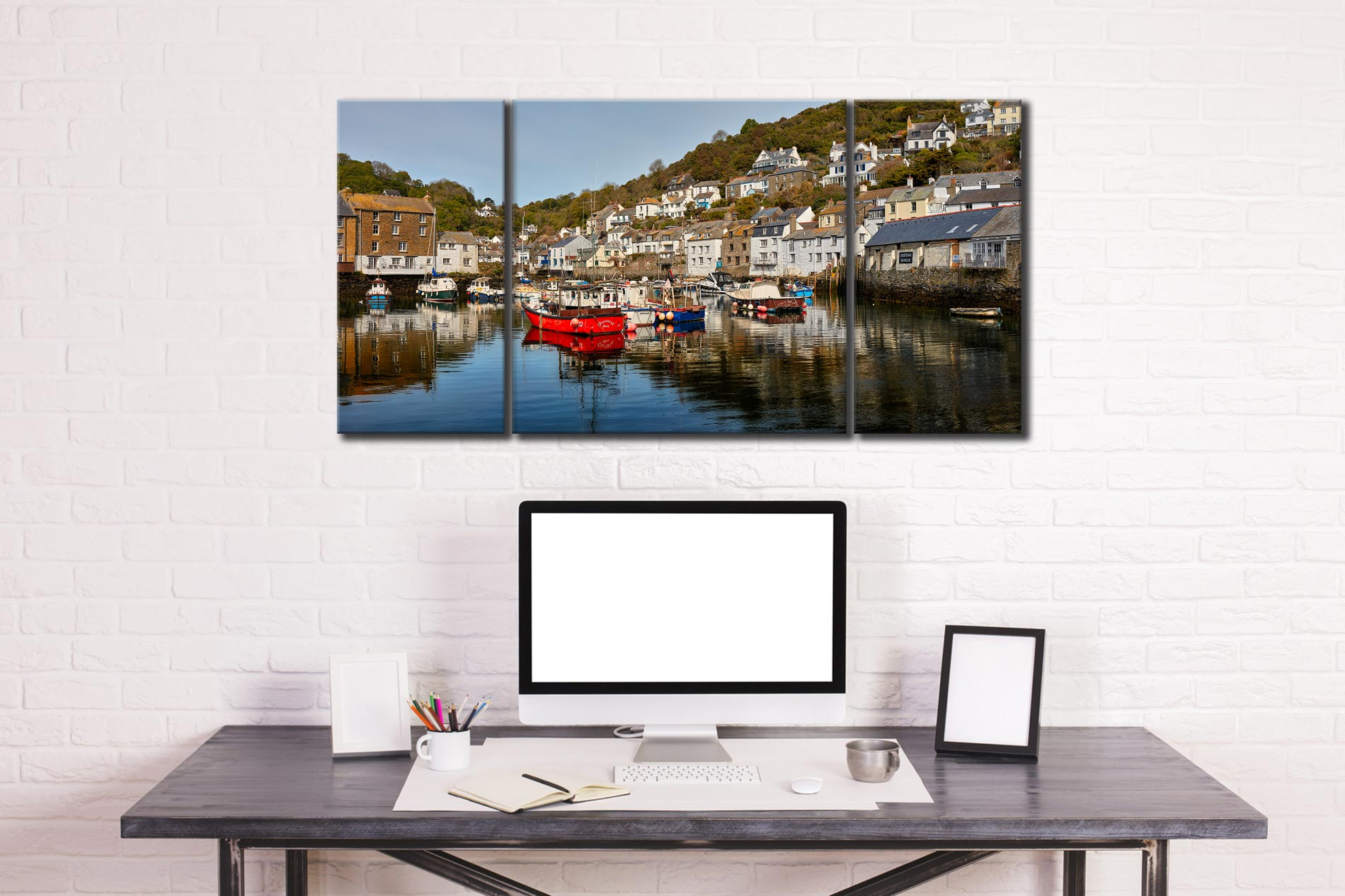 Polperro Harbour - 3 Panel Wide Centre Canvas on Wall