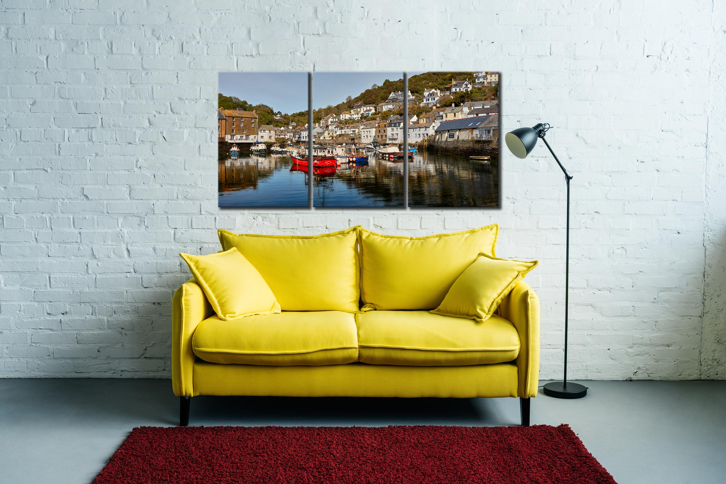 Polperro Harbour - 3 Panel Canvas on Wall