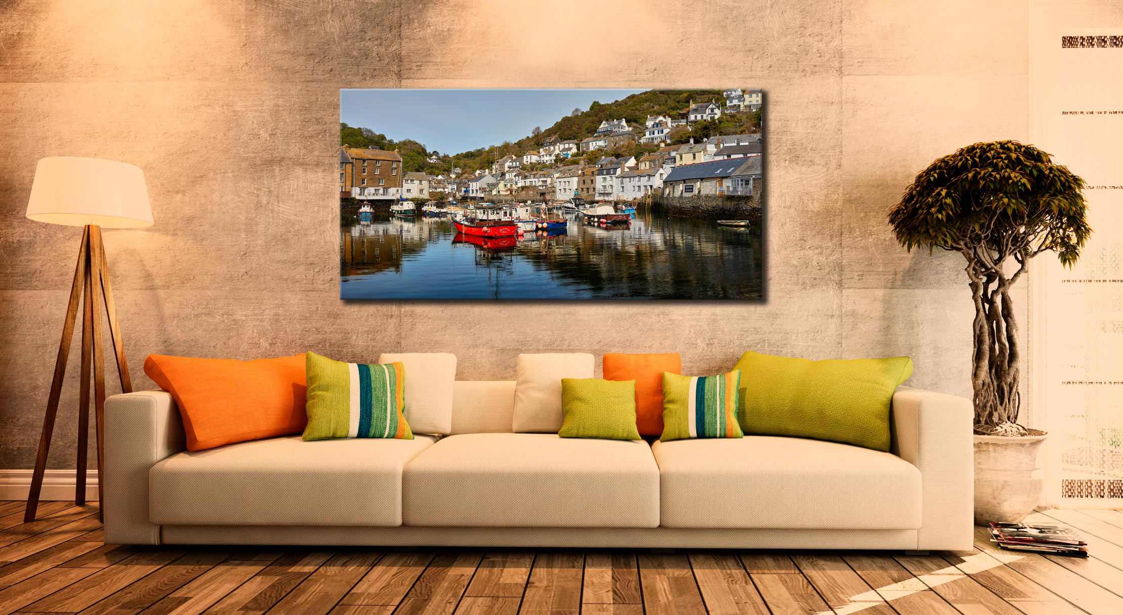 Polperro Harbour - Canvas Print on Wall