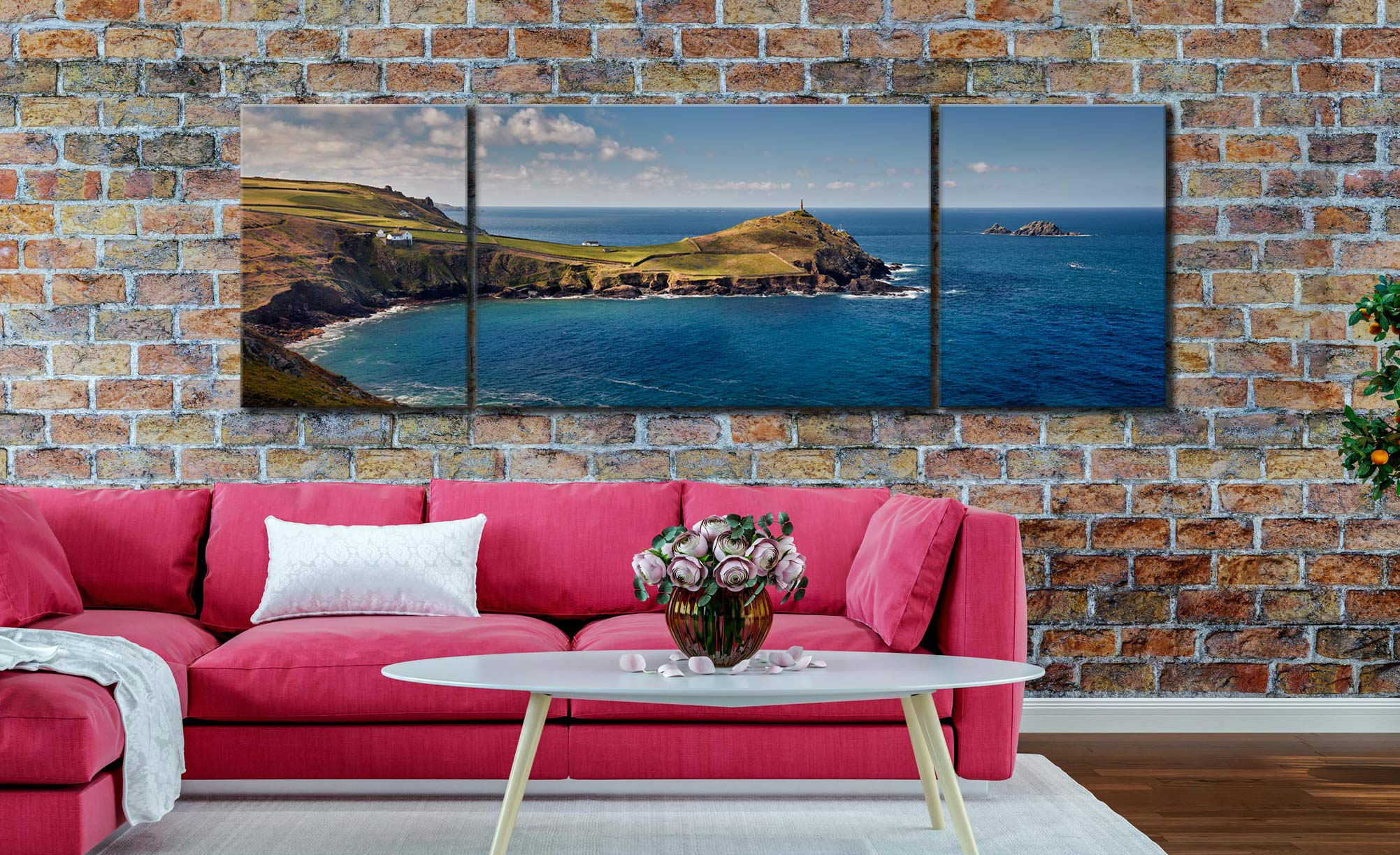 Cape Cornwall - 3 Panel Wide Mid Canvas on Wall