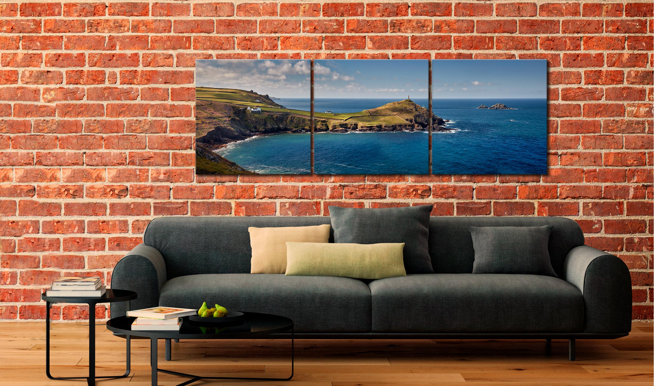 Cape Cornwall - 3 Panel Canvas on Wall