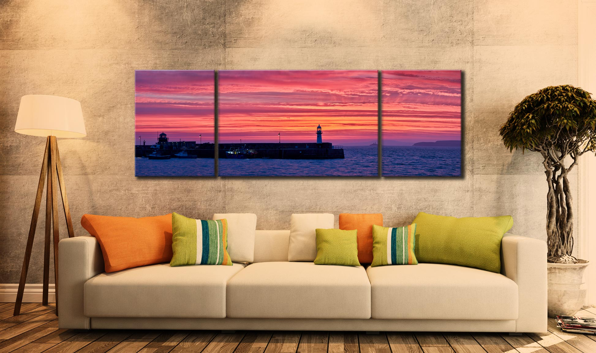 Approaching Dawn Over St Ives - 3 Panel Wide Mid Canvas on Wall