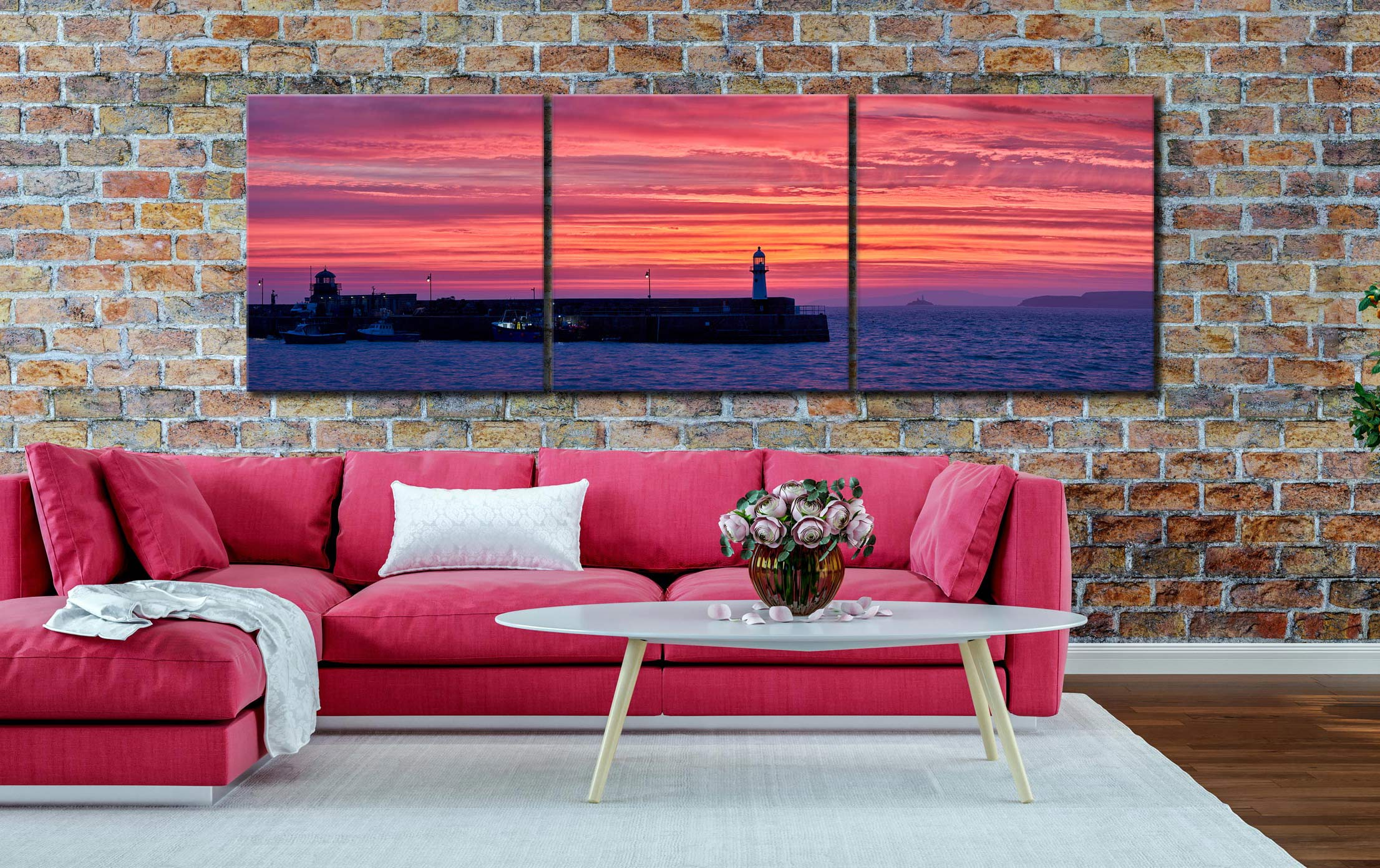 Approaching Dawn Over St Ives - 3 Panel Canvas on Wall