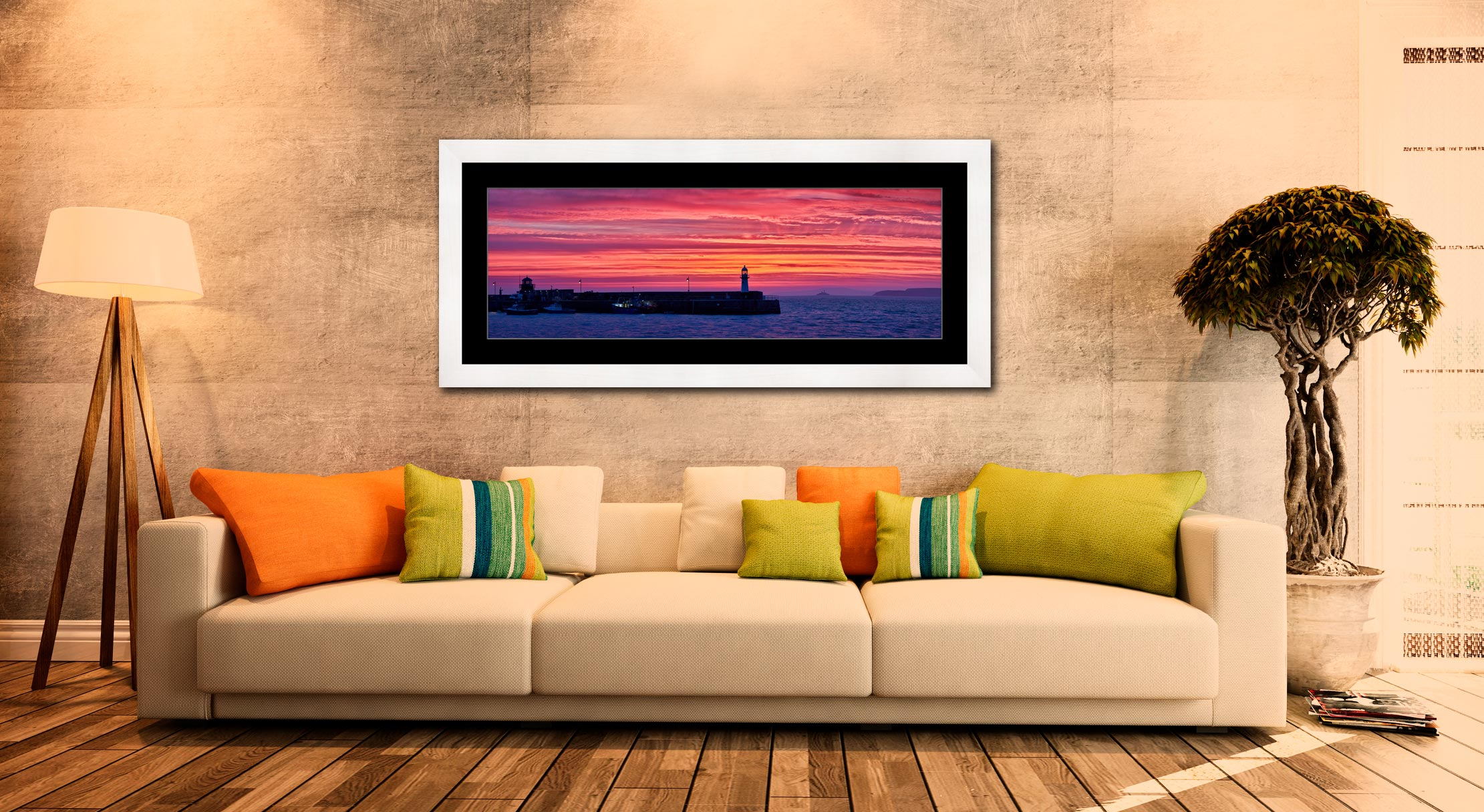 Approaching Dawn Over St Ives - Framed Print with Mount on Wall