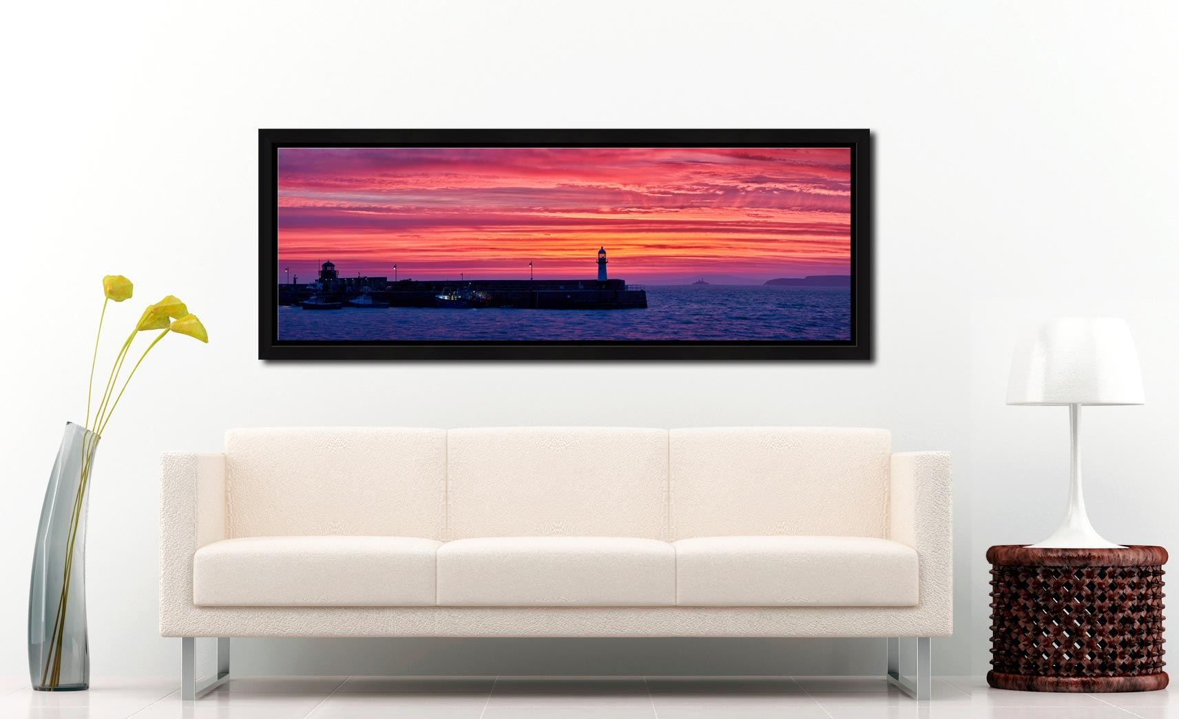 Burning skies over St Ives Harbor and Godrevy Lighthouse before dawn - Black oak floater frame with acrylic glazing on Wall