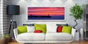 Burning skies over St Ives Harbor and Godrevy Lighthouse before dawn - White Maple floater frame with acrylic glazing on Wall