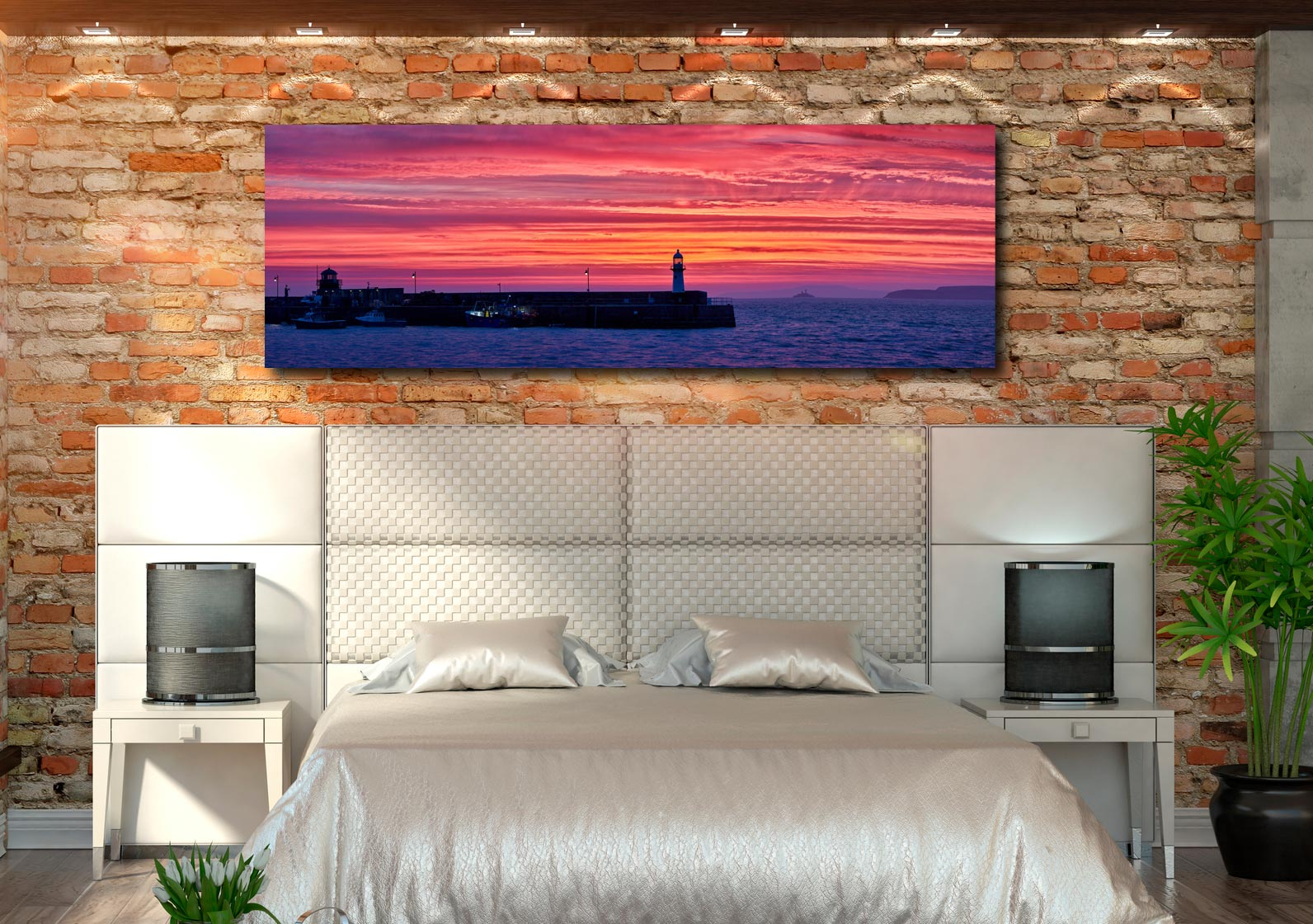 Burning skies over St Ives Harbor and Godrevy Lighthouse before dawn - Print Aluminium Backing With Acrylic Glazing on Wall