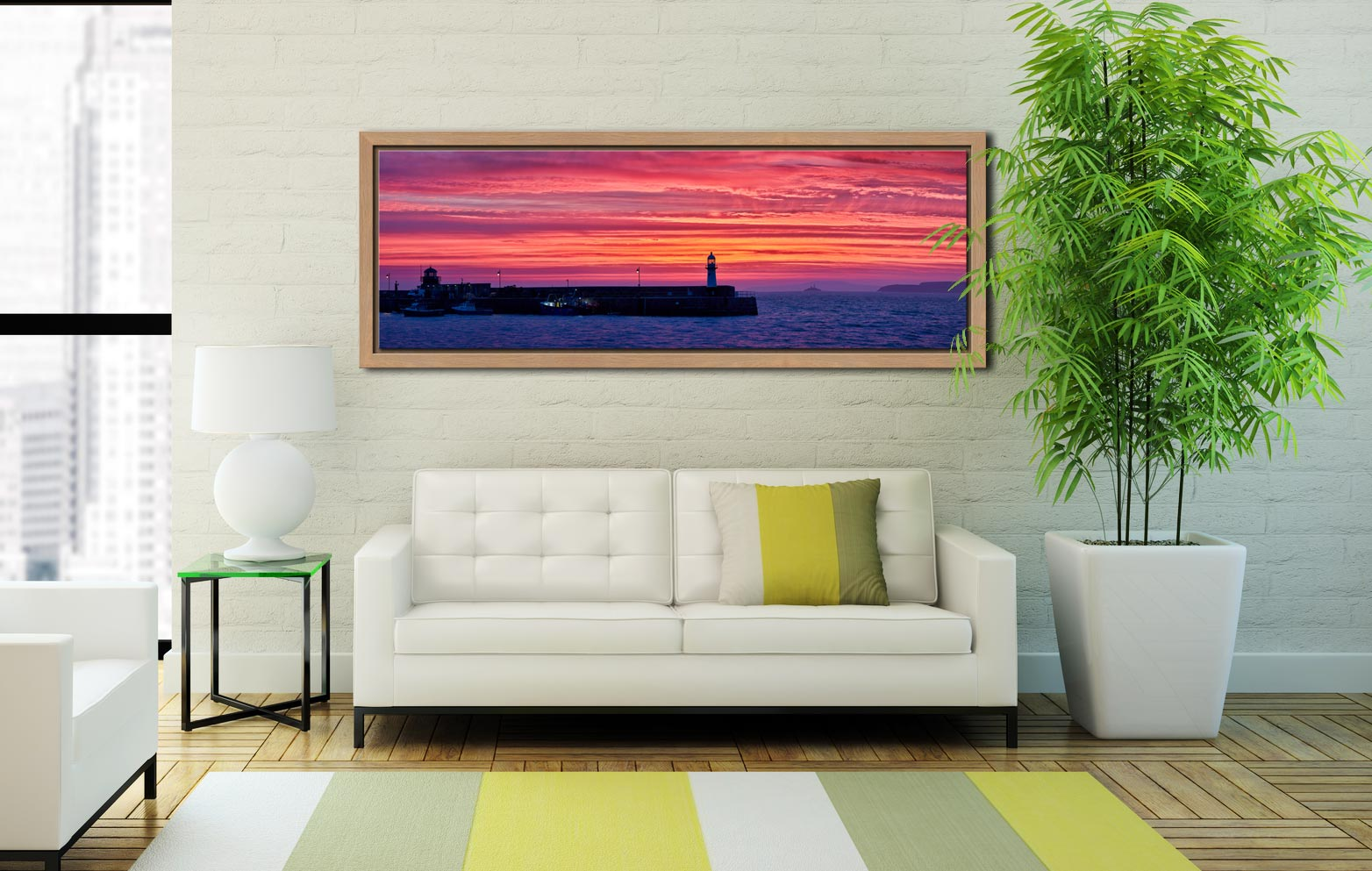 Burning skies over St Ives Harbor and Godrevy Lighthouse before dawn - Oak floater frame with acrylic glazing on Wall