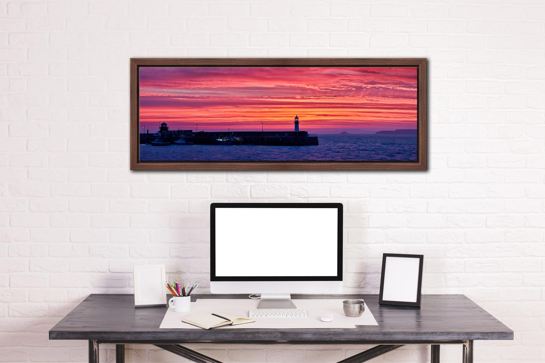 Burning skies over St Ives Harbor and Godrevy Lighthouse before dawn - Walnut floater frame with acrylic glazing on Wall