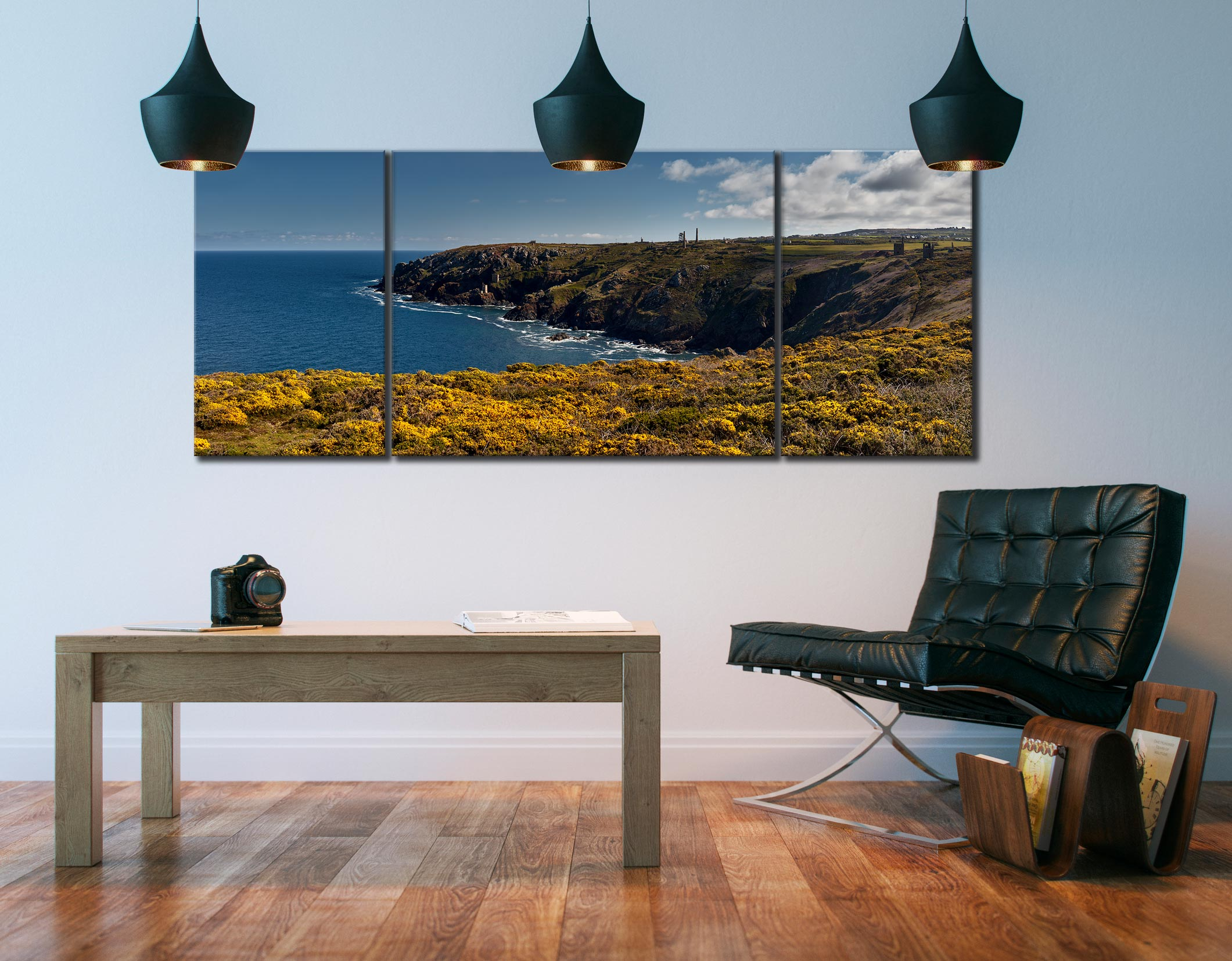 Botallack Mines Yellow Gorse - 3 Panel Wide Mid Canvas on Wall