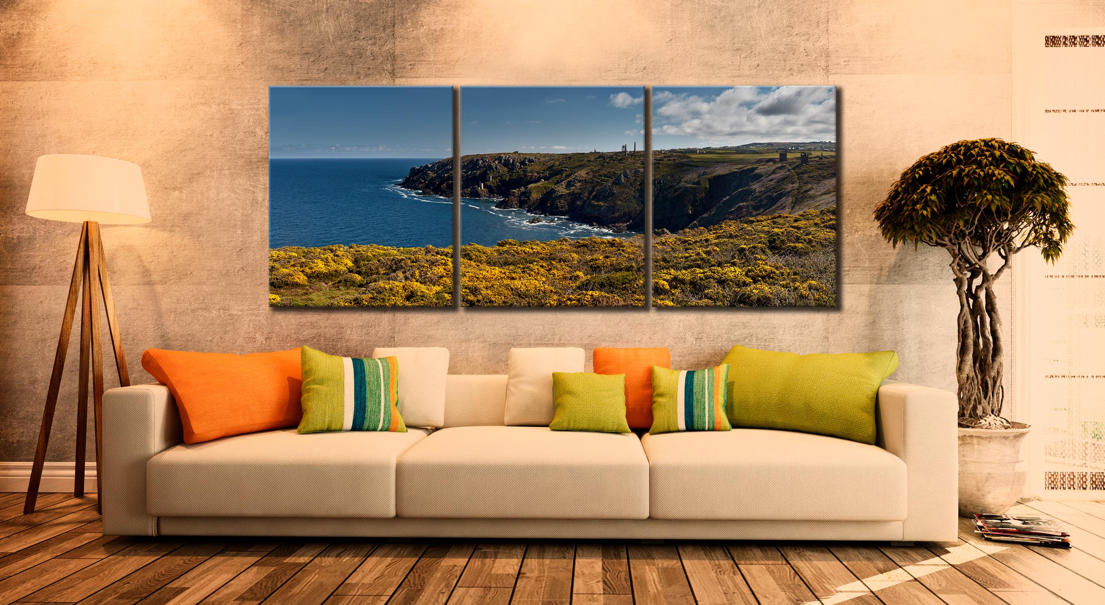 Botallack Mines Yellow Gorse - 3 Panel Canvas on Wall
