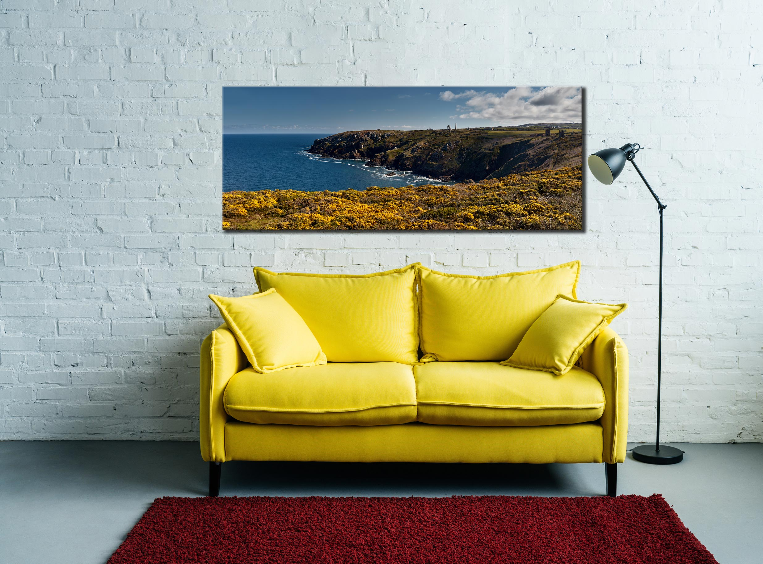 Botallack Mines Yellow Gorse - Canvas Print on Wall