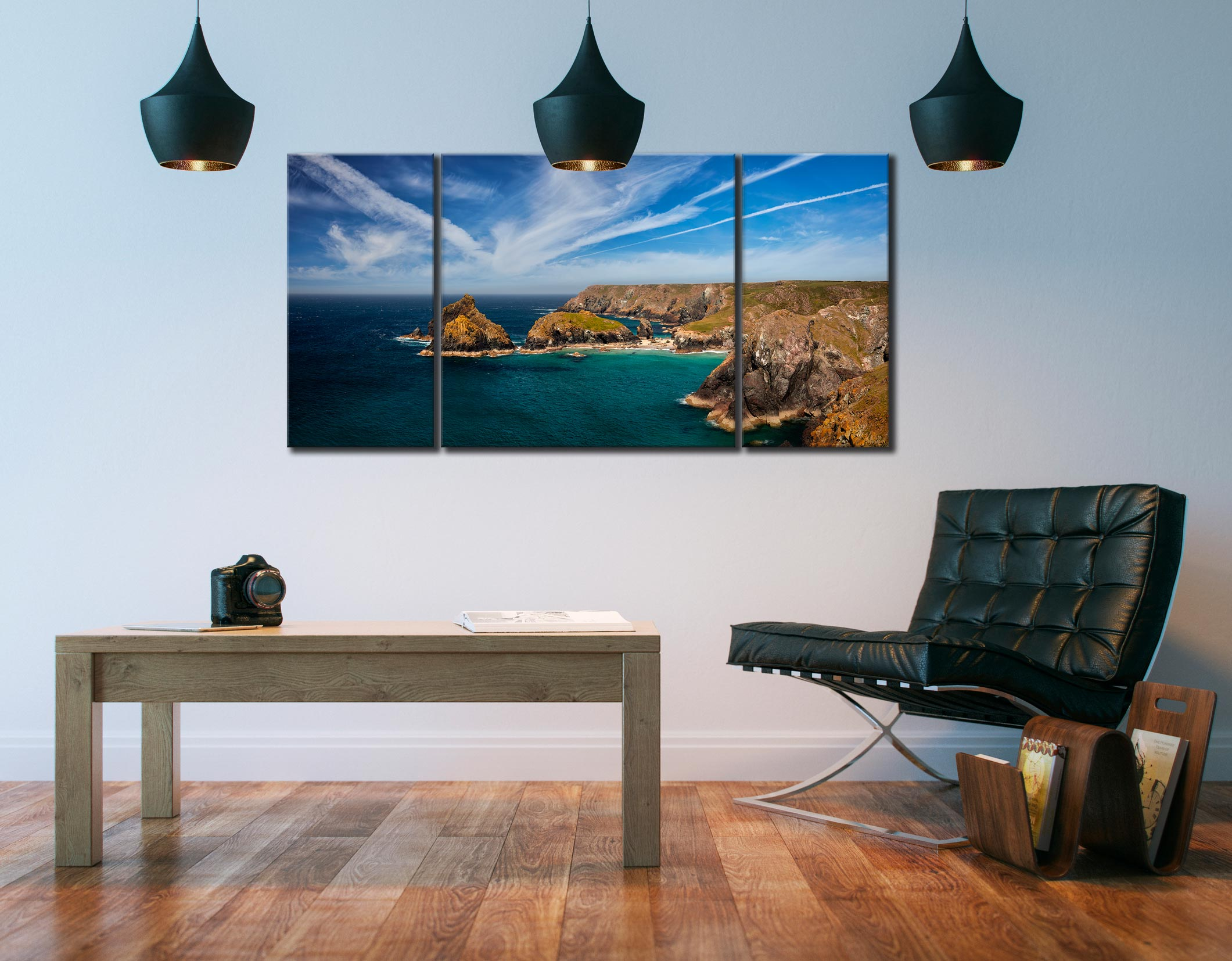 Green Ocean Kynance Cove - 3 Panel Wide Centre Canvas on Wall