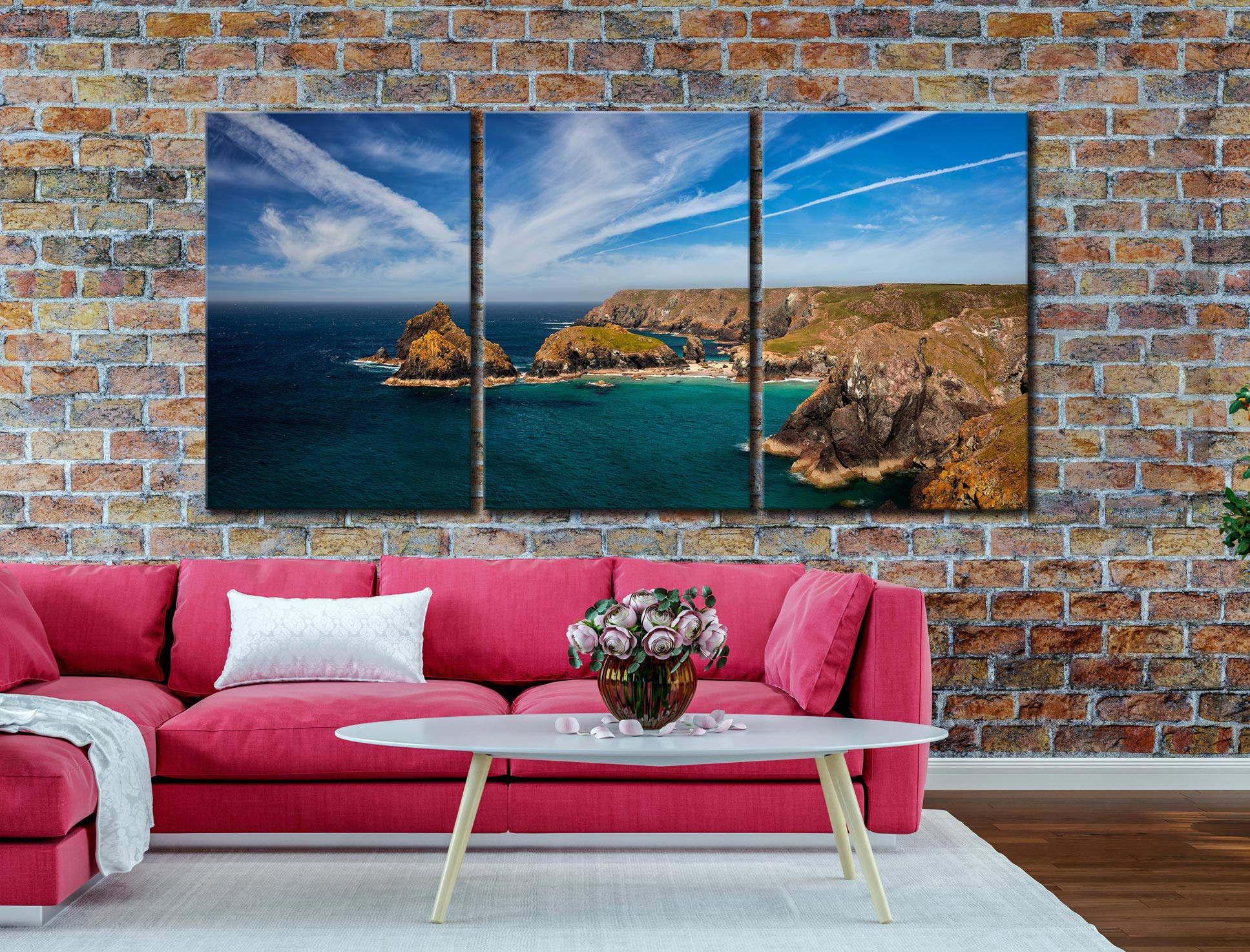 Green Ocean Kynance Cove - 3 Panel Canvas on Wall