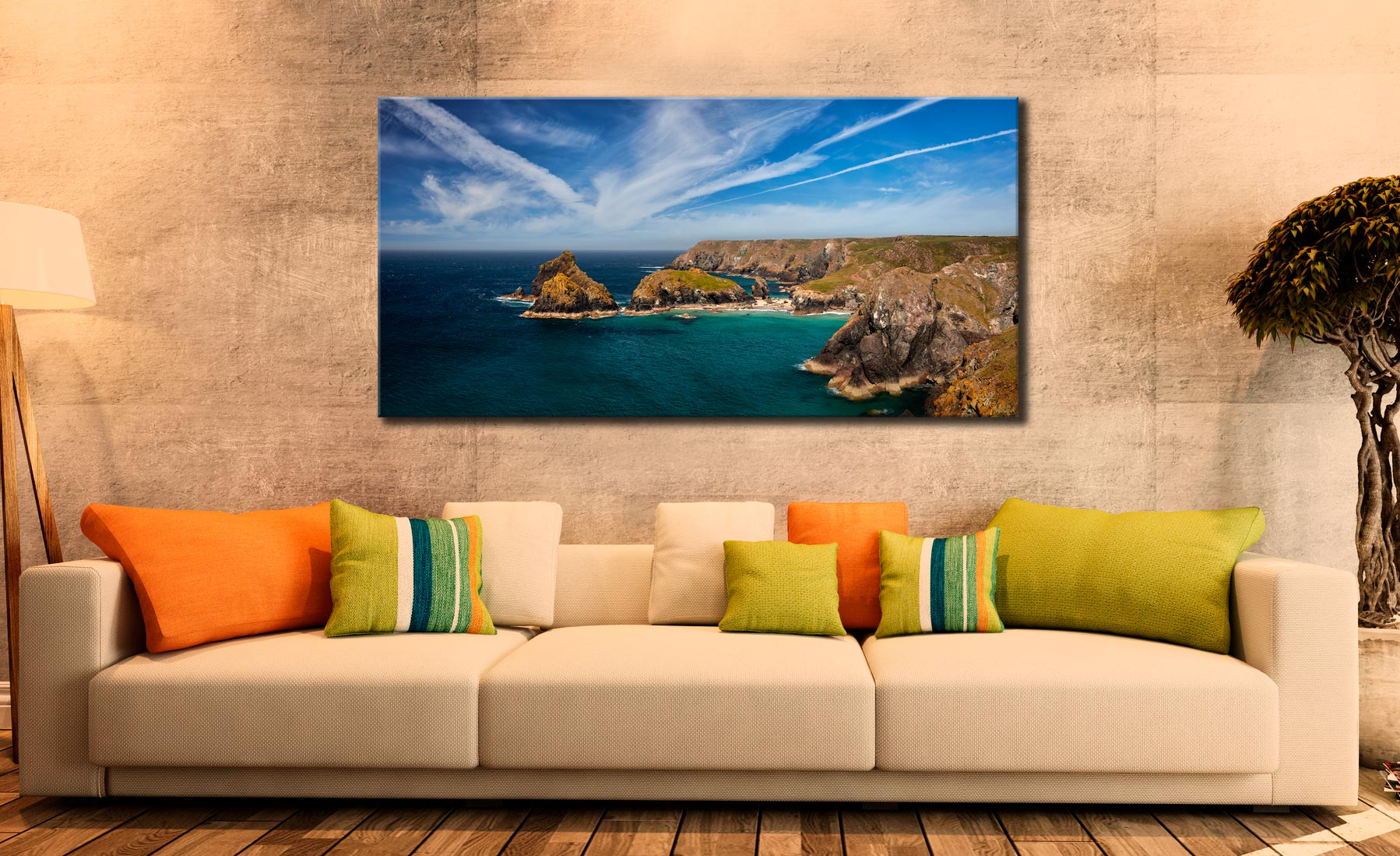 Green Ocean Kynance Cove - Canvas Print on Wall