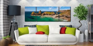 Asparagus Island at Kynance Cove - 3 Panel Wide Mid Canvas on Wall