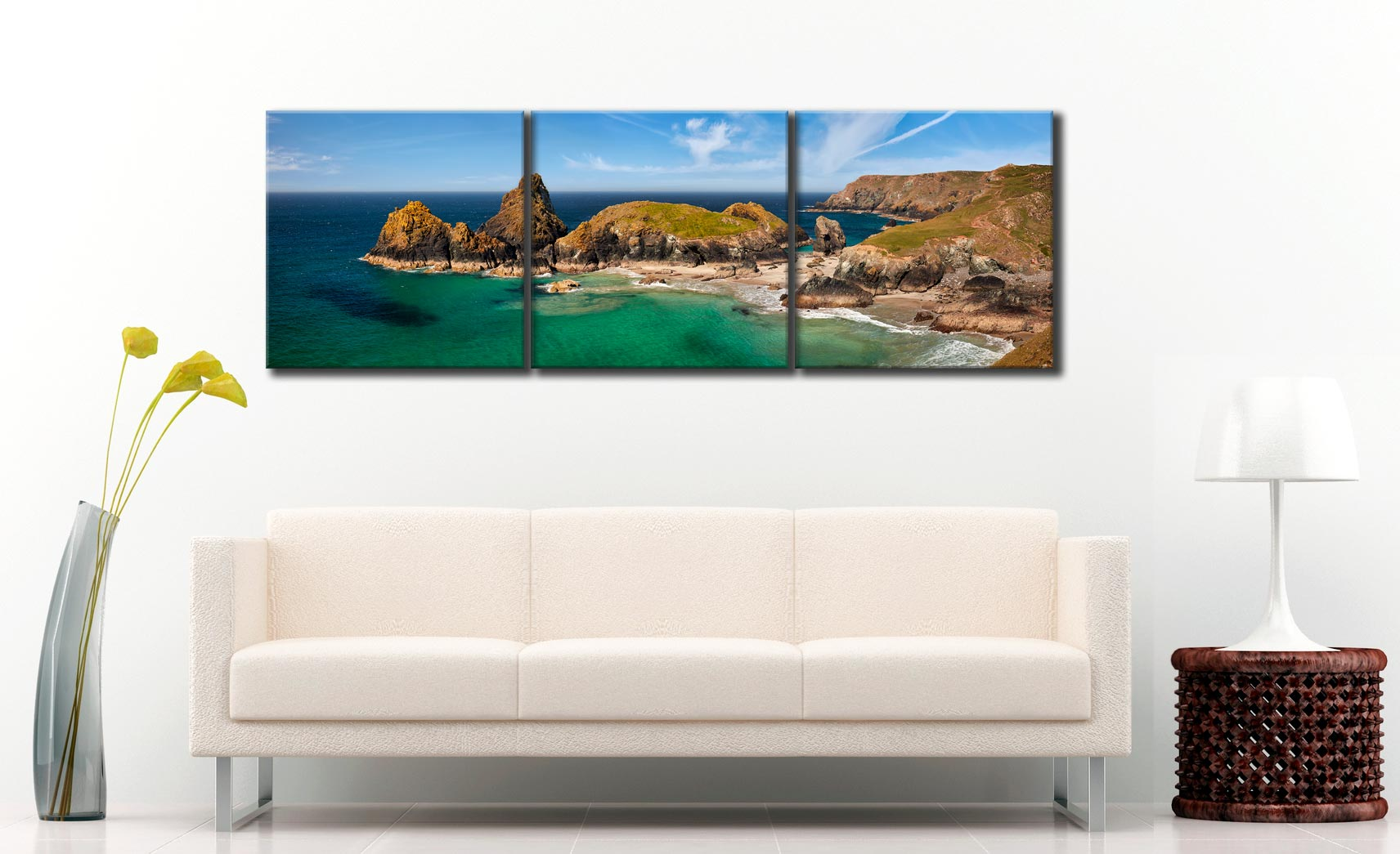 Asparagus Island at Kynance Cove - 3 Panel Canvas on Wall