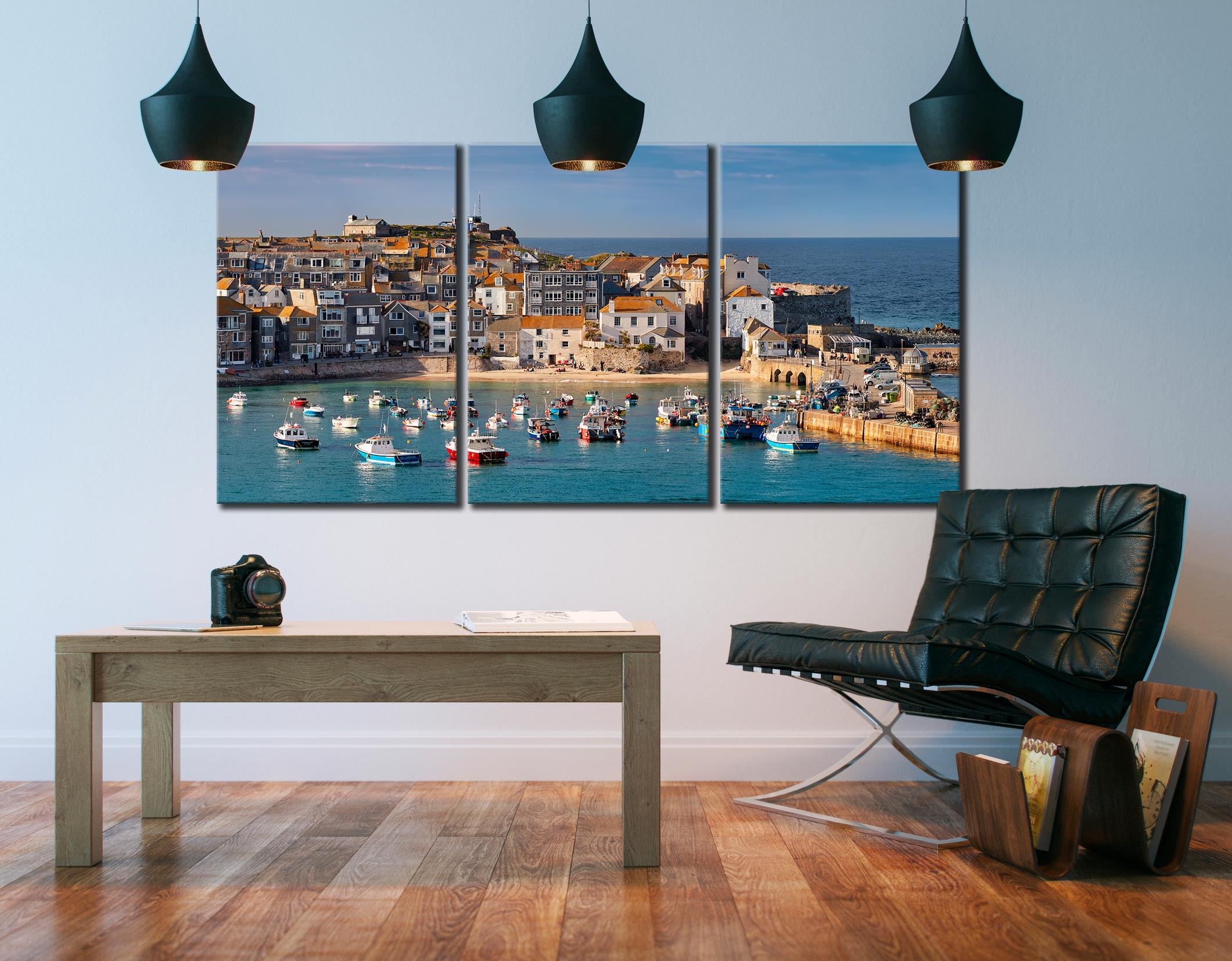 St Ives Harbour Beach - 3 Panel Canvas on Wall