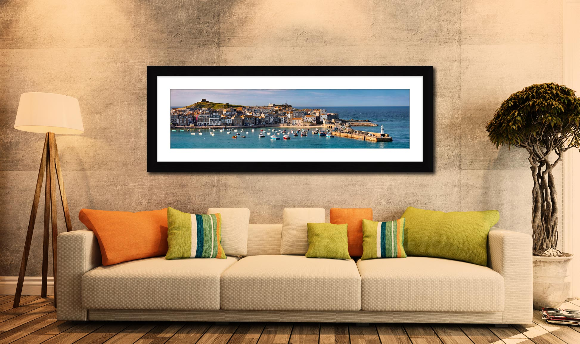 St Ives Harbour in Afternoon Sunshine - Framed Print with Mount on Wall