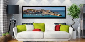 St Ives Harbour in Afternoon Sunshine - Black oak floater frame with acrylic glazing on Wall
