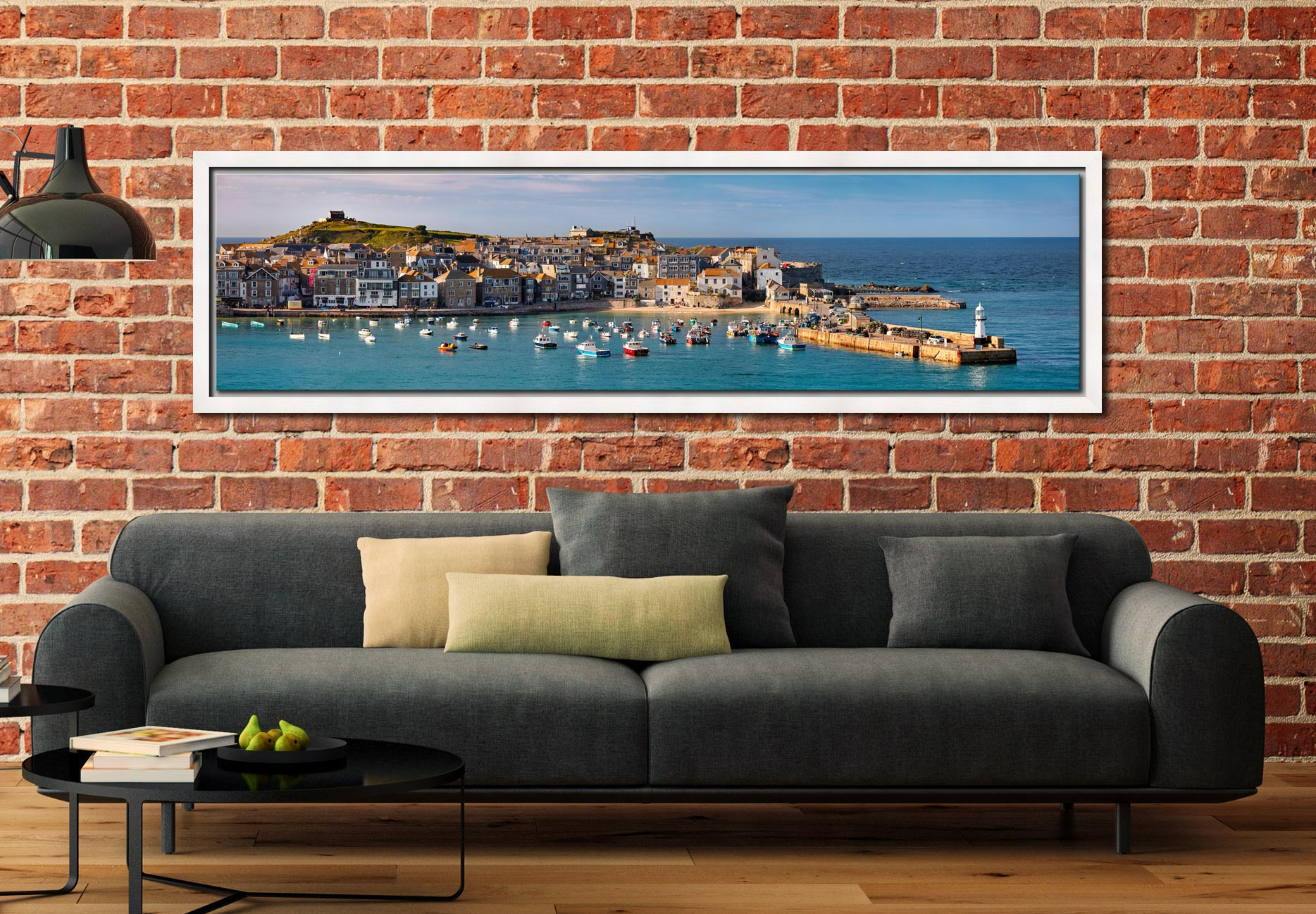 St Ives Harbour in Afternoon Sunshine - White Maple floater frame with acrylic glazing on Wall