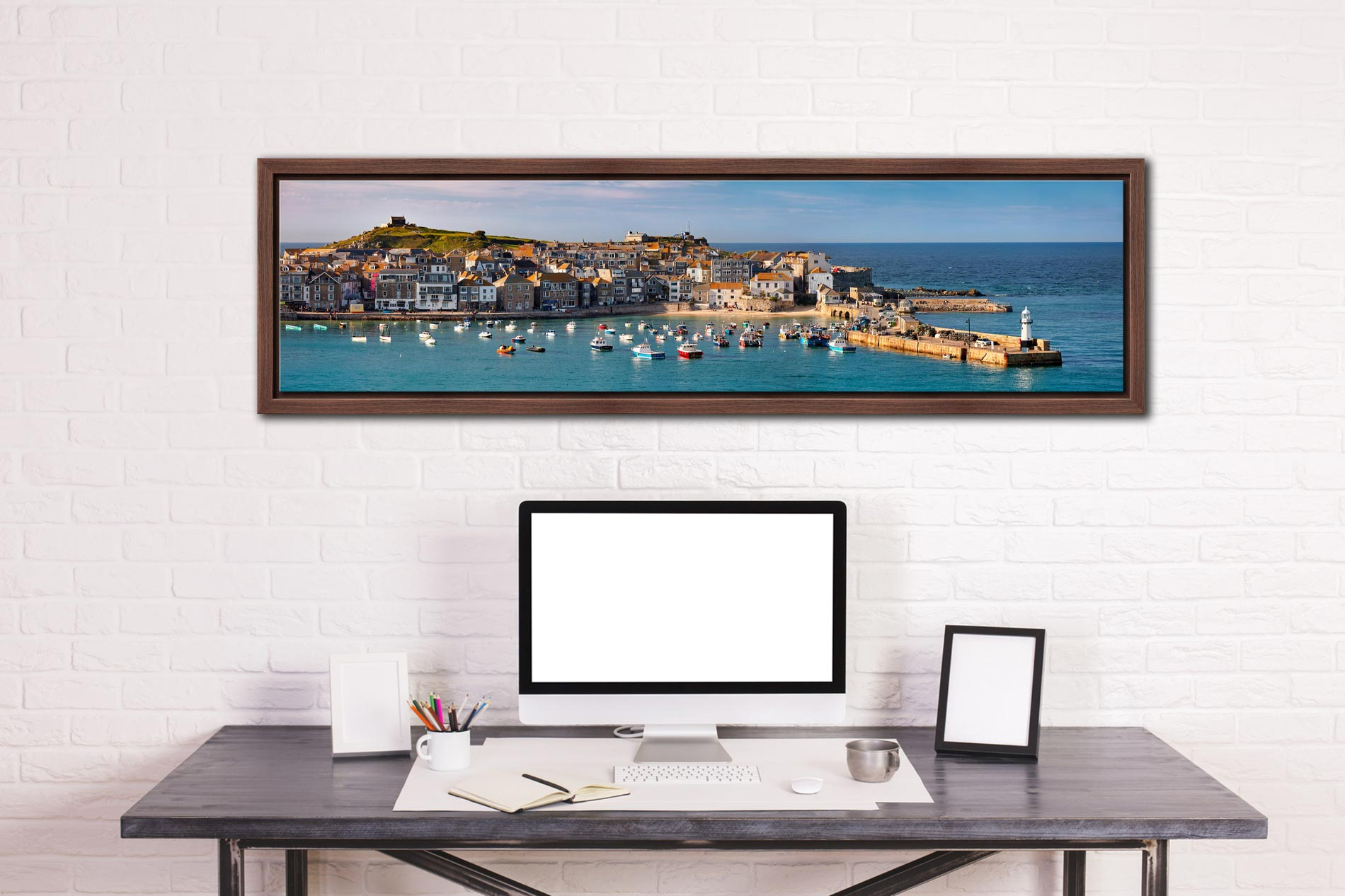 St Ives Harbour in Afternoon Sunshine - Walnut floater frame with acrylic glazing on Wall