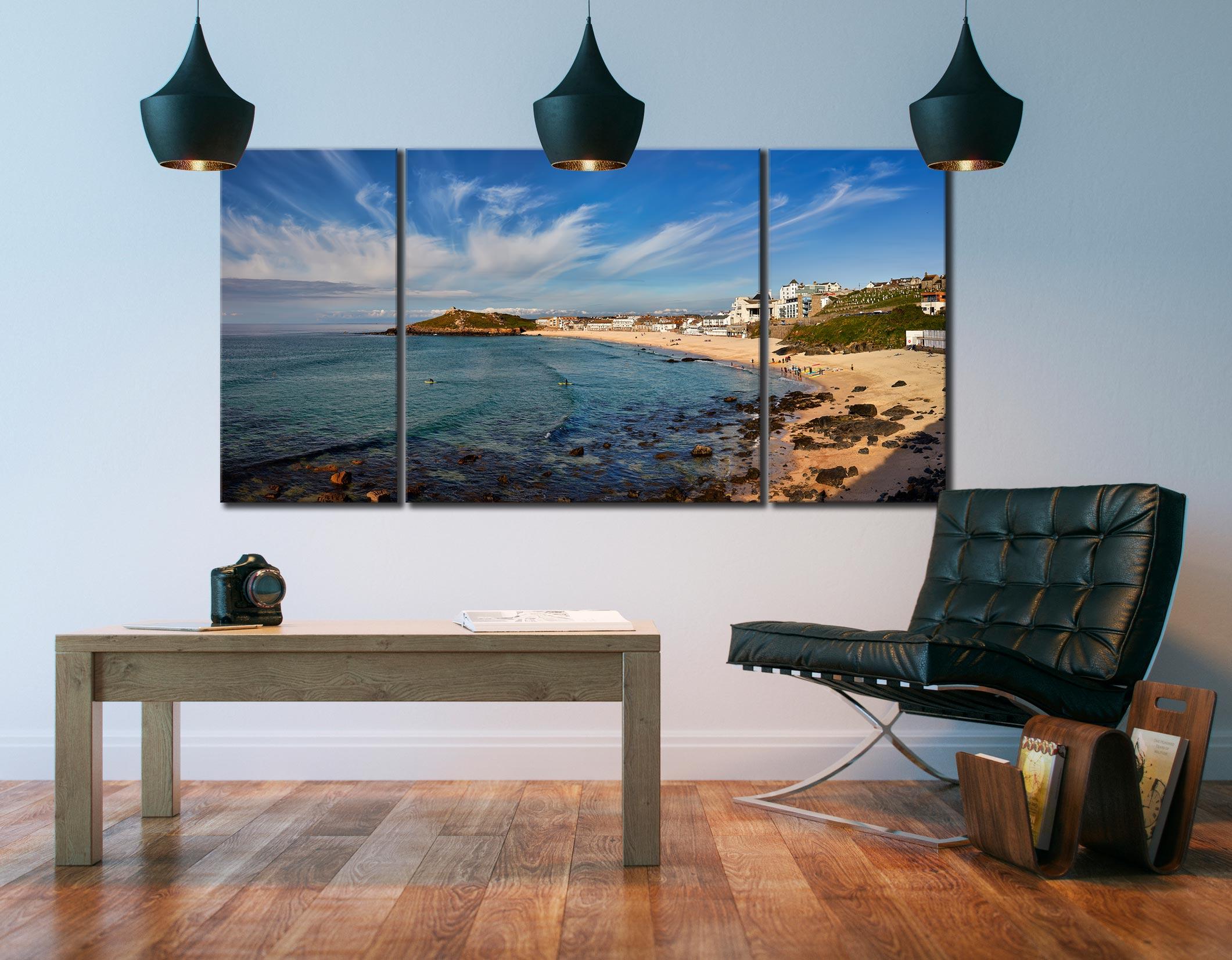 Porthmeor Beach Green Ocean - 3 Panel Canvas on Wall