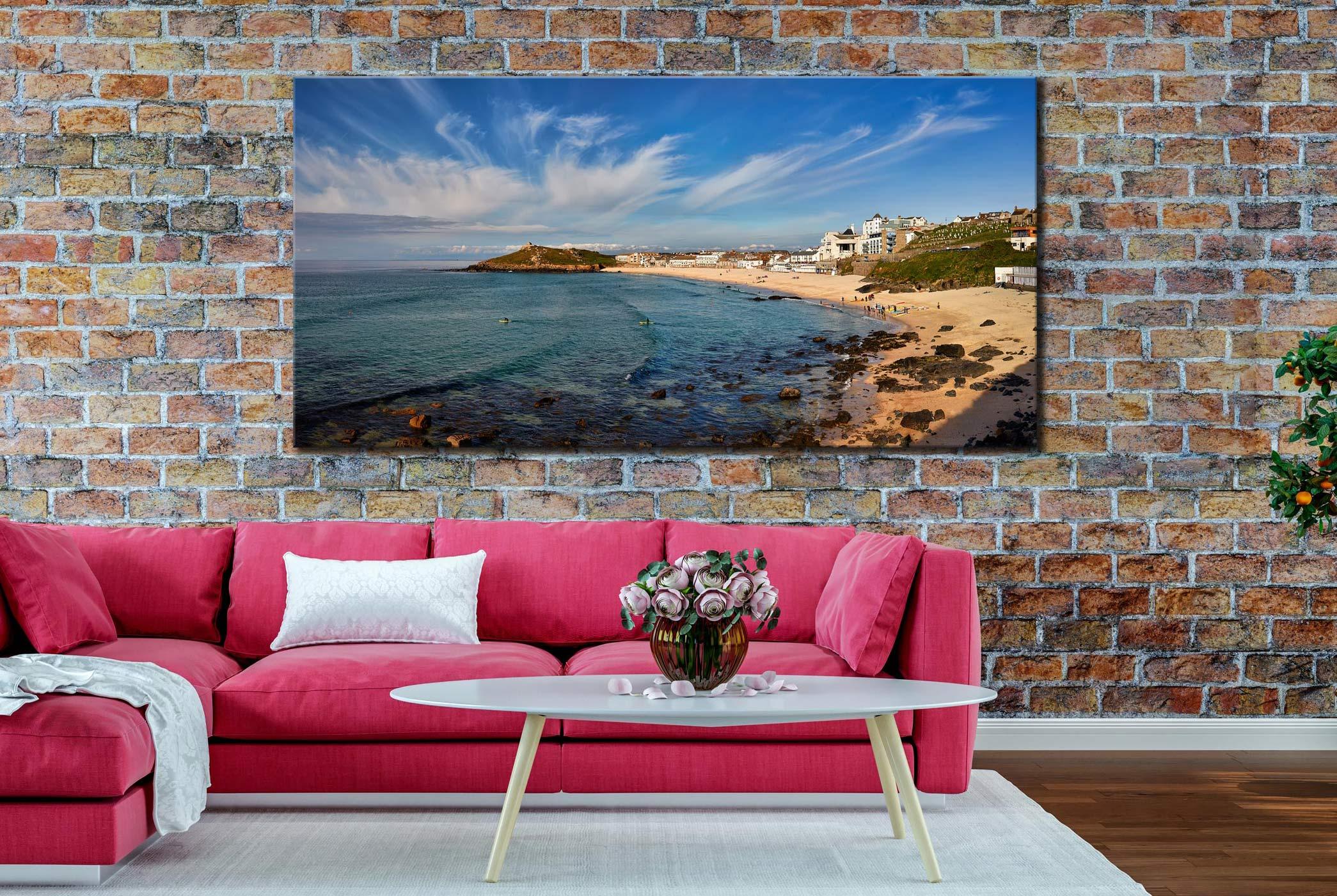 Porthmeor Beach Green Ocean - Canvas Print on Wall