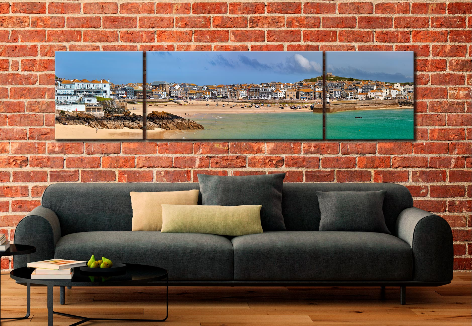 St Ives Seafront - 3 Panel Wide Centre Canvas on Wall